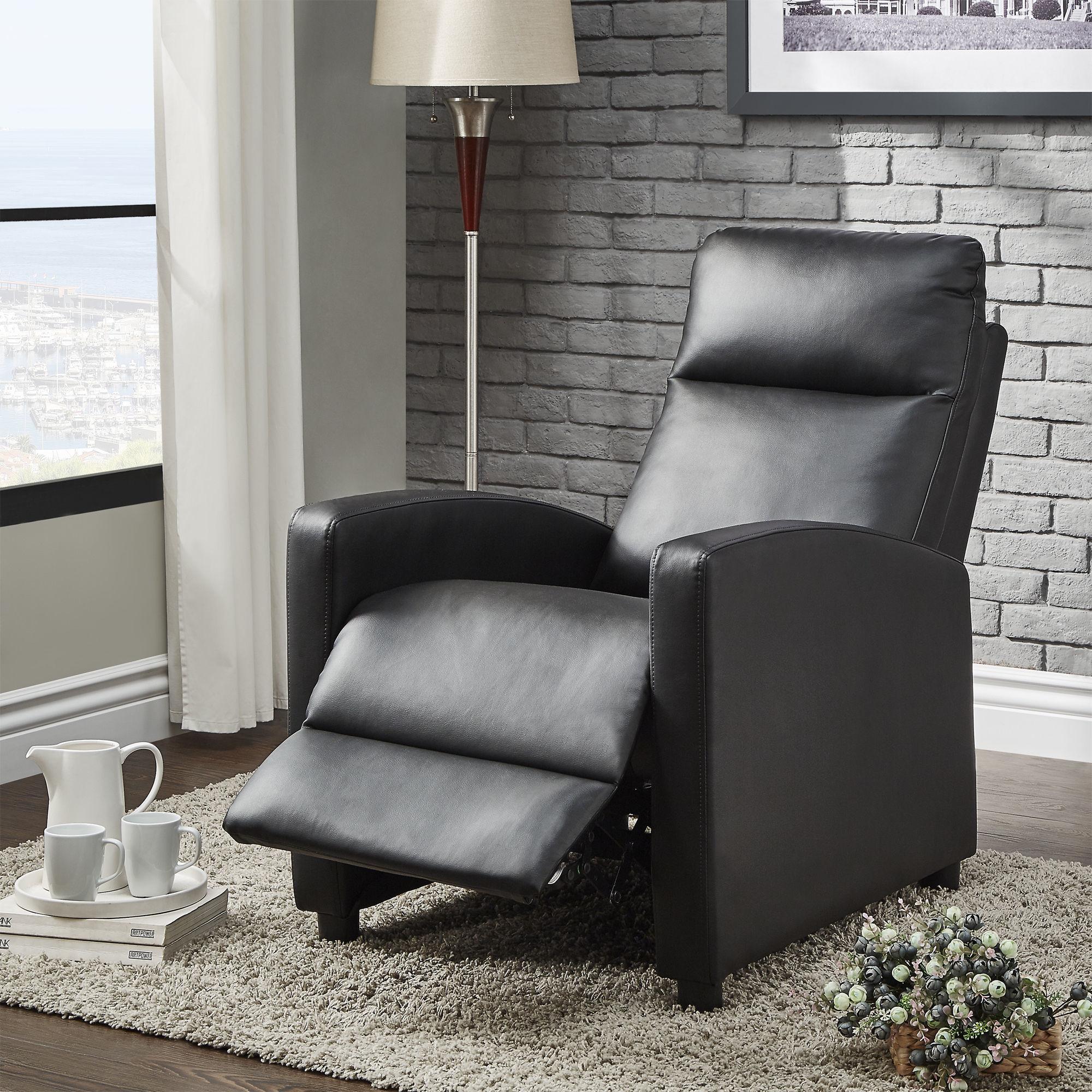 shop saipan modern fabric and leather recliner club chair inspire q