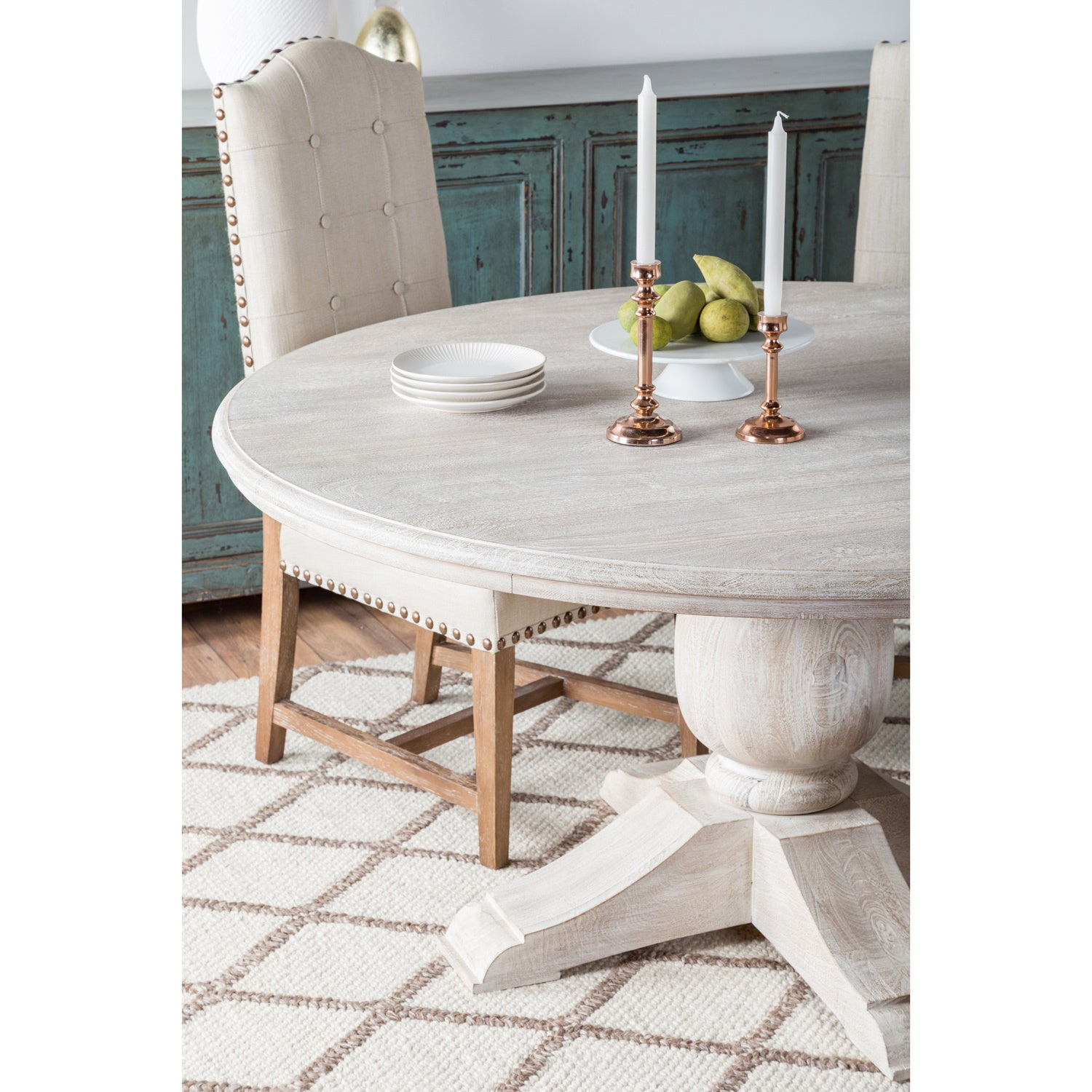 Valencia Wood Antique White 60 Inch Dining Table By Kosas Home   Antique  White   Free Shipping Today   Overstock.com   20125072