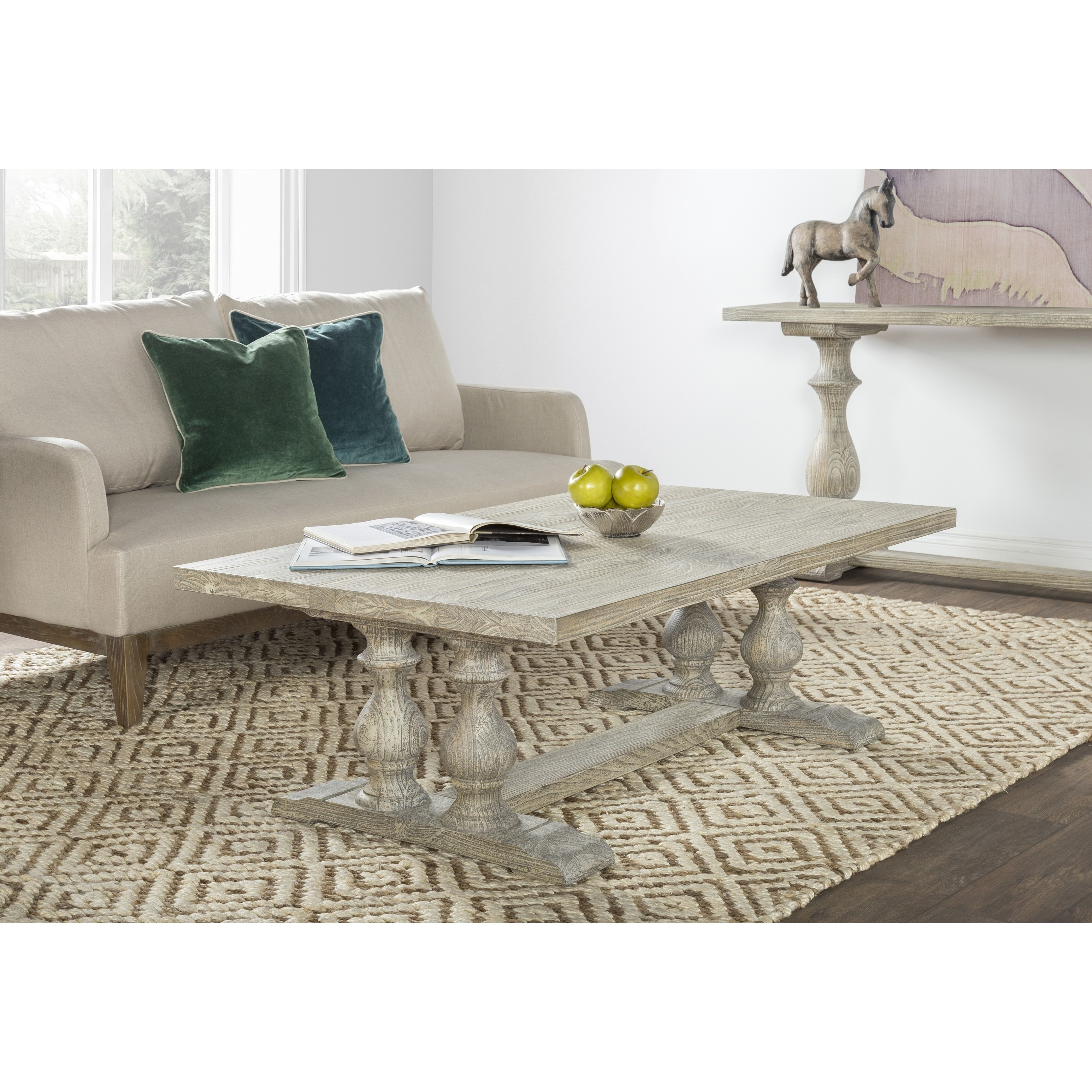 Wakefield Rustic Grey Reclaimed Pine Rectangular Coffee Table by
