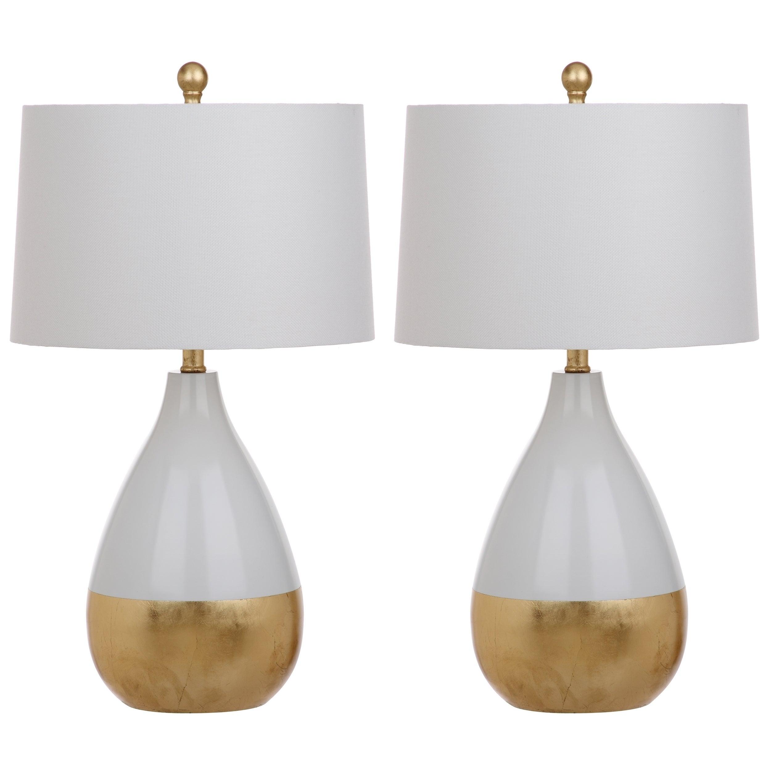 Shop Safavieh Lighting 24-inch Kingship White/ Gold Table Lamp (Set ...