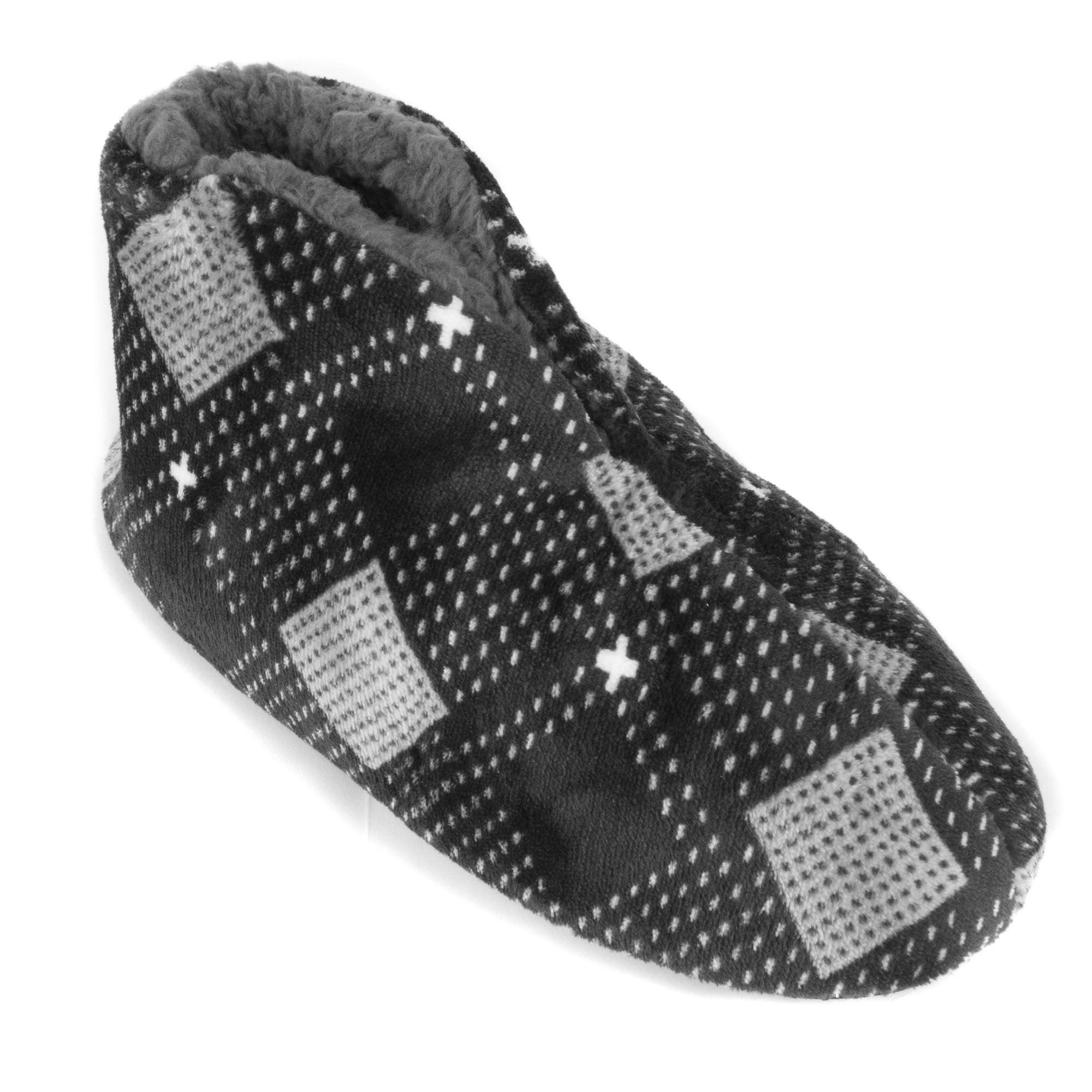 a5ba7645744c Shop Leisureland Men s Plaid Fleece Lined Cozy Bootie Slippers ...