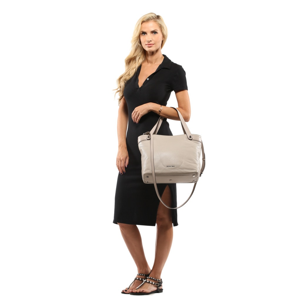 cacf466e6fad Shop Michael Kors Hyland Medium Cement Convertible Tote Bag - Free Shipping  Today - Overstock - 13434997