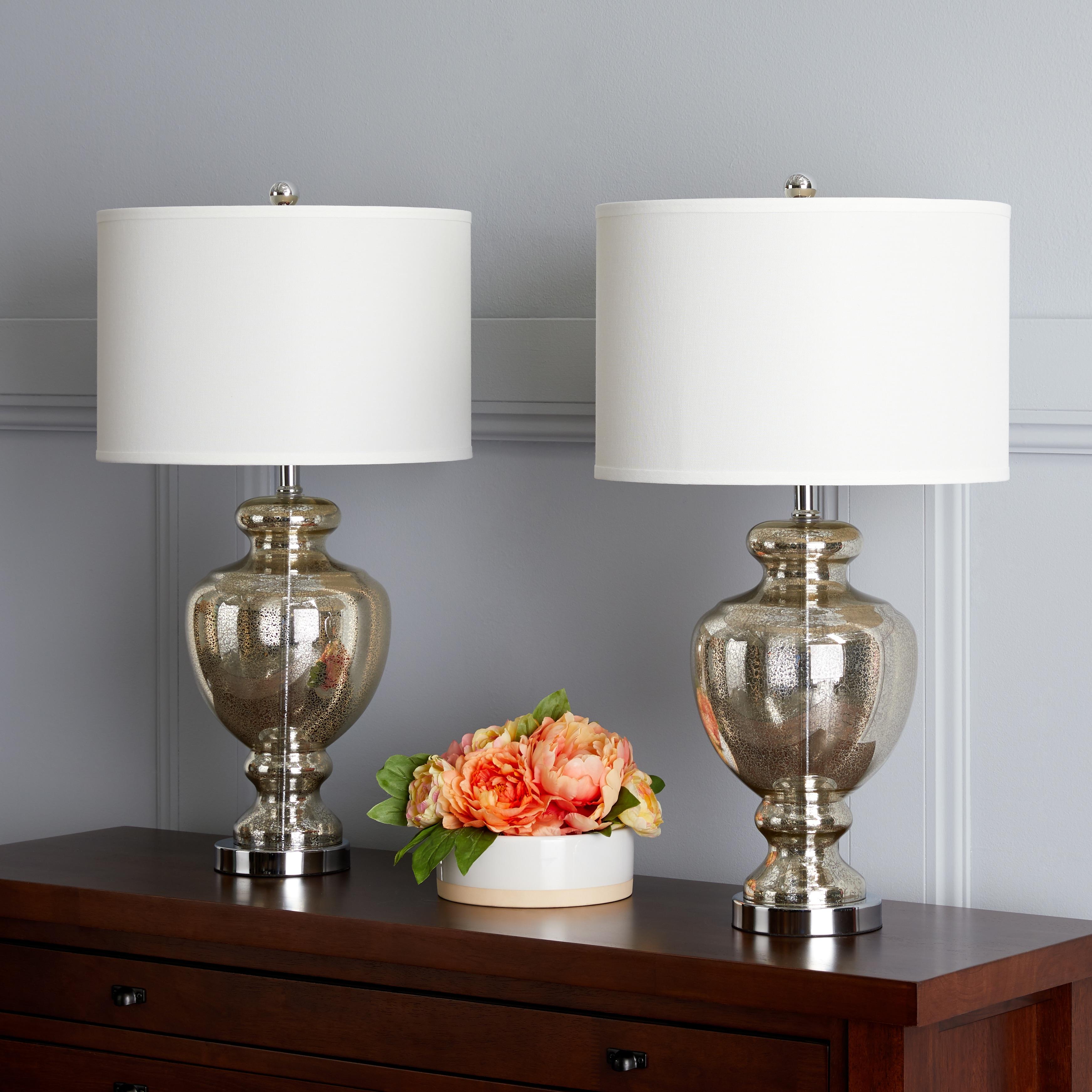 Safavieh Lighting 28 Inch Morocco Mercury Gl Table Lamp Set Of 2