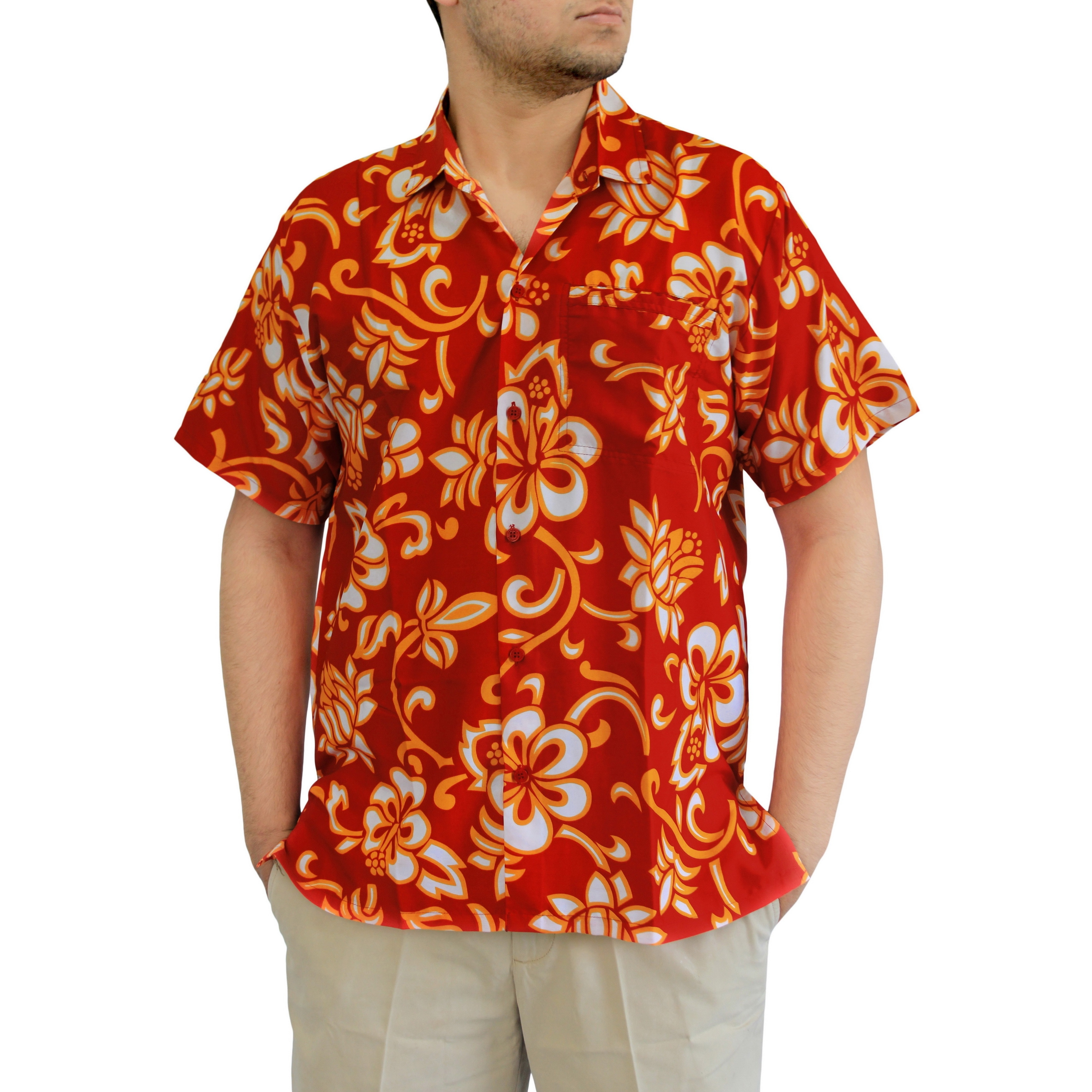 a7eed883199 Mens Red Silk Short Sleeve Shirt - BCD Tofu House