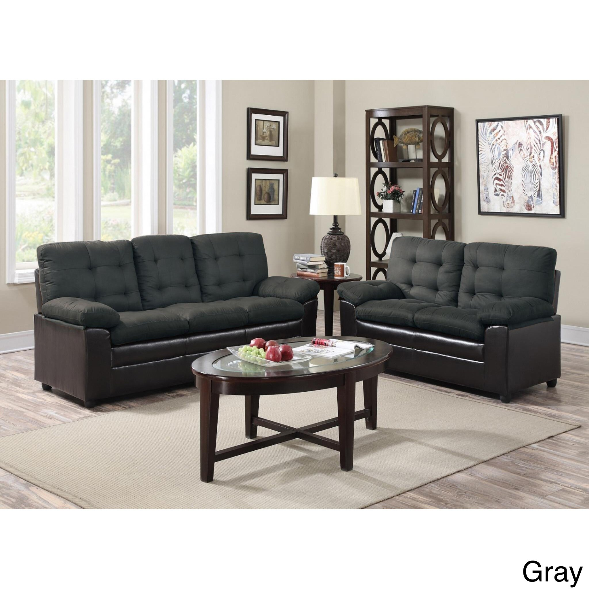 Shop Two Tone Microfiber Sofa And Loveseat Set   Free Shipping Today    Overstock.com   13445088