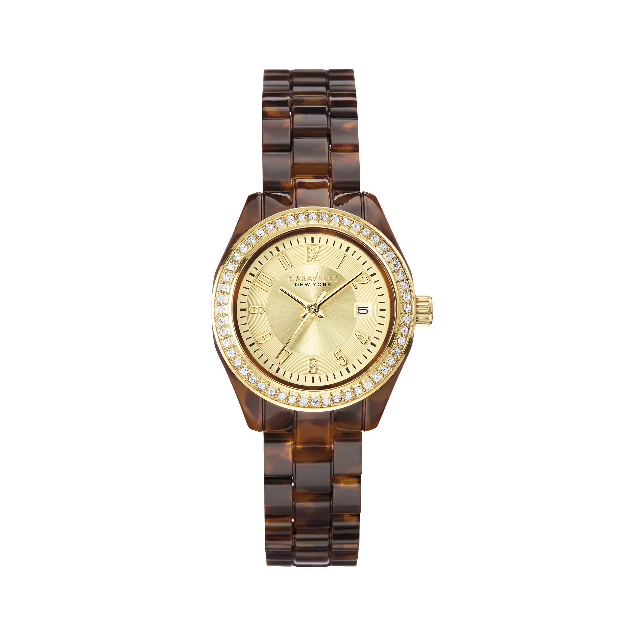 074bede02da8 Shop Caravelle Women s 44M104 Crystal Bezel Tortoise Shell Bracelet Watch -  N A - N A - On Sale - Free Shipping On Orders Over  45 - Overstock -  13445323
