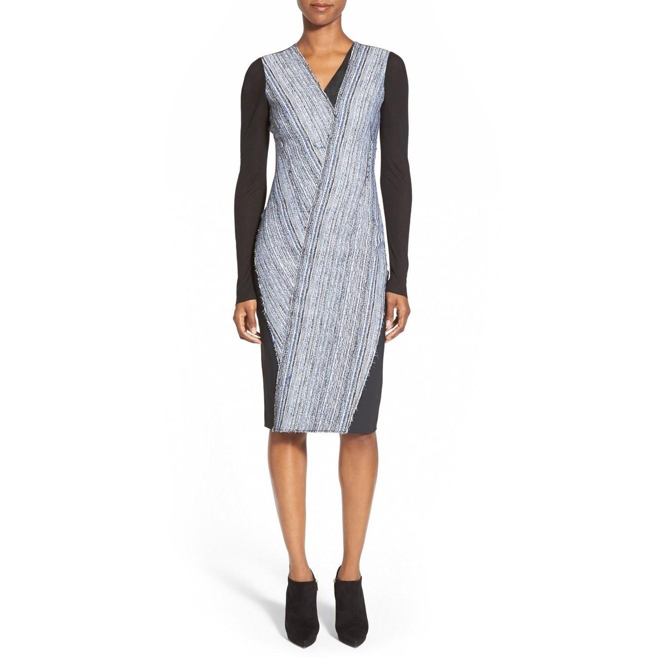 ac621df59a6b Shop Elie Tahari Cara Women's Blue Mixed Media Dress - Free Shipping Today  - Overstock - 13445588