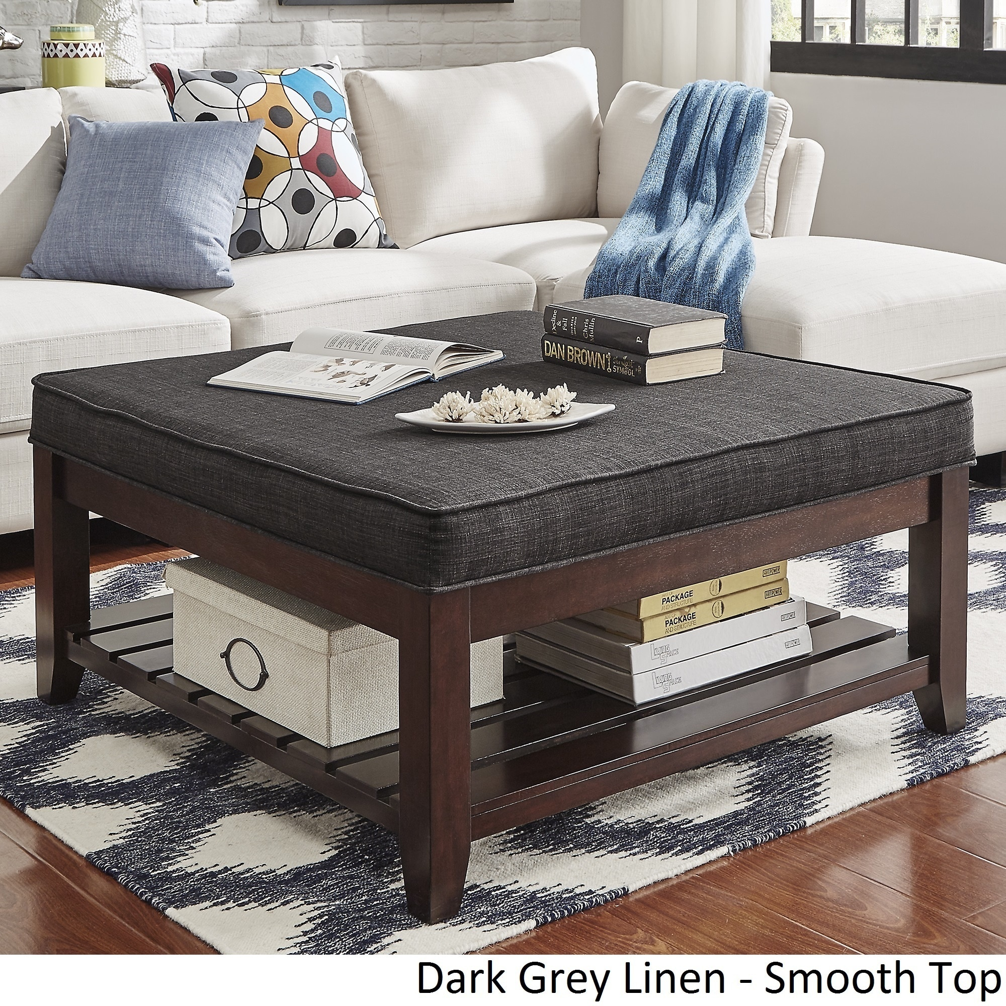 Lennon Espresso Planked Storage Ottoman Coffee Table By Inspire Q Clic On Free Shipping Today 13447189