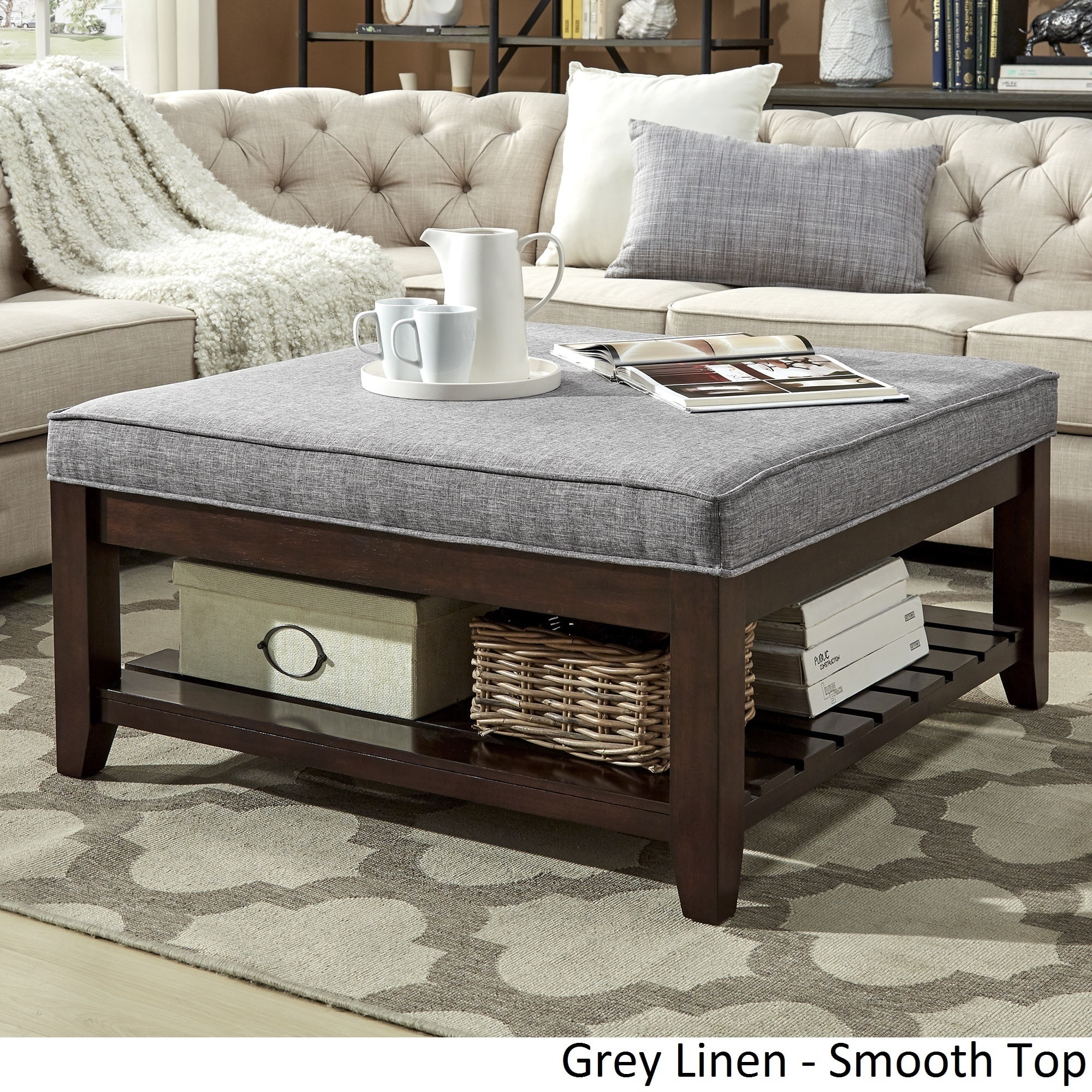 Lennon Espresso Planked Storage Ottoman Coffee Table By Inspire Q Clic Free Shipping Today 20177484