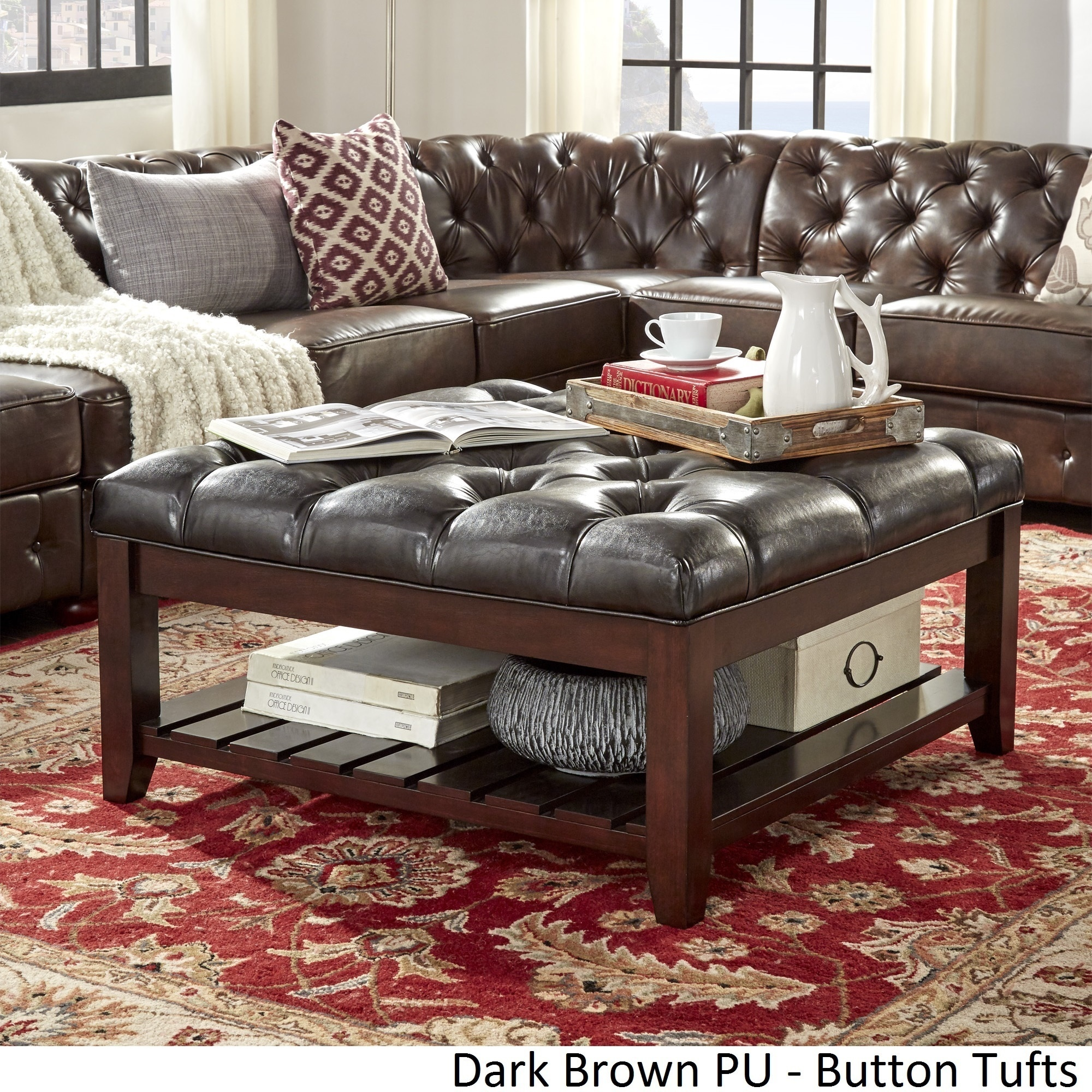 Lennon Espresso Planked Storage Ottoman Coffee Table By INSPIRE Q Classic    Free Shipping Today   Overstock   20137484