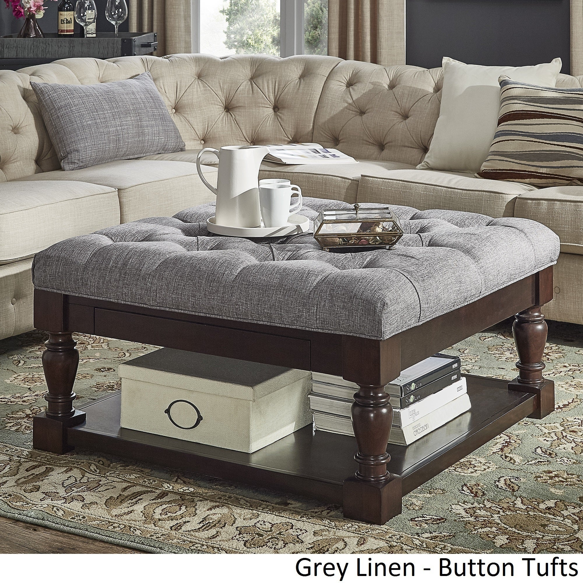 Lennon Baer Espresso Storage Ottoman Coffee Table By Inspire Q Clic Free Shipping Today 20177485