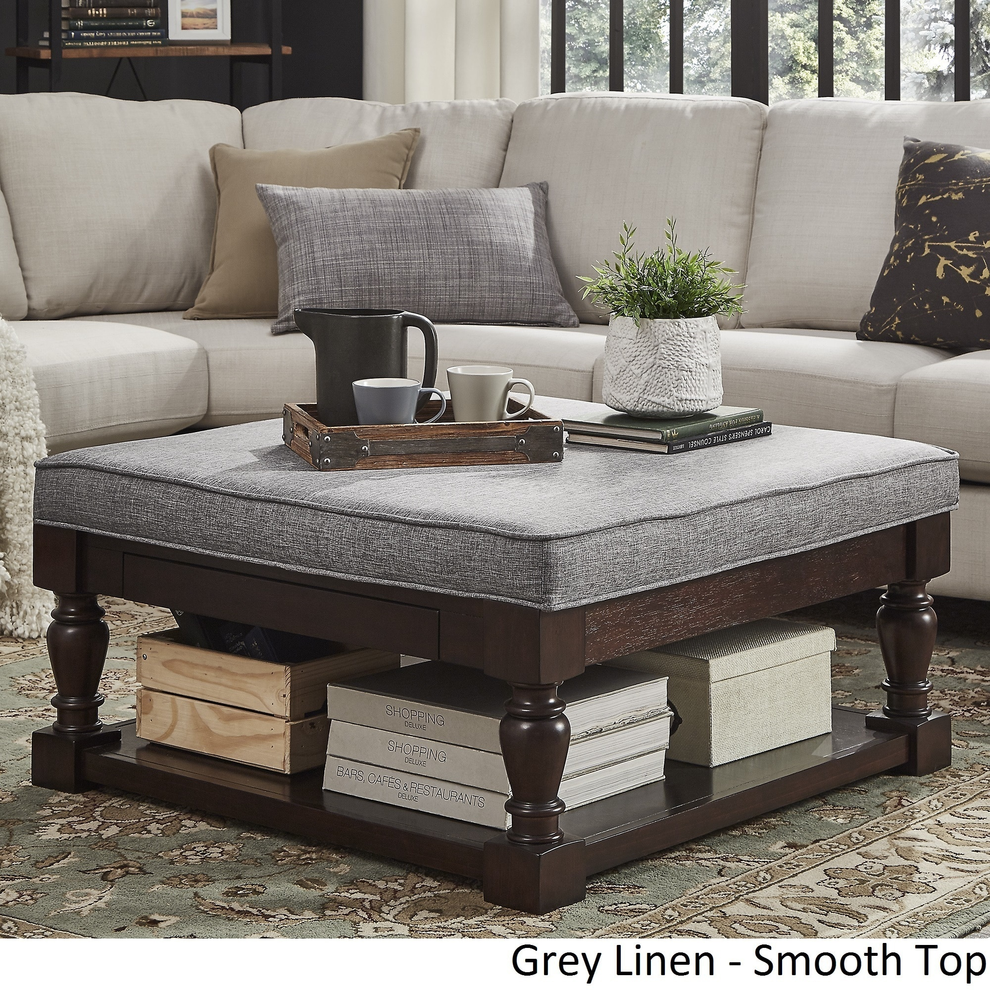 Lennon Baluster Espresso Storage Ottoman Coffee Table by iNSPIRE Q