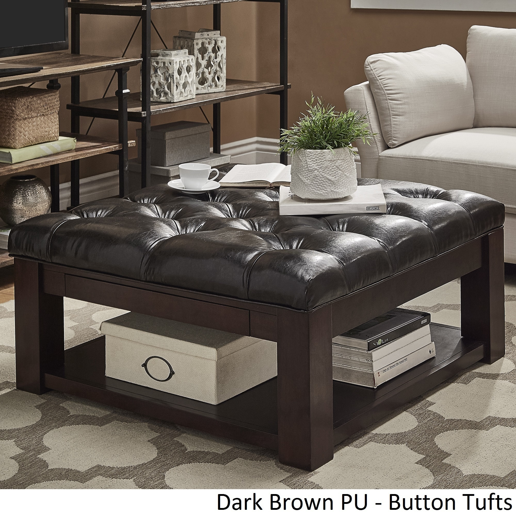 Lennon Espresso Square Storage Ottoman Coffee Table By Inspire Q Clic On Free Shipping Today 13447191
