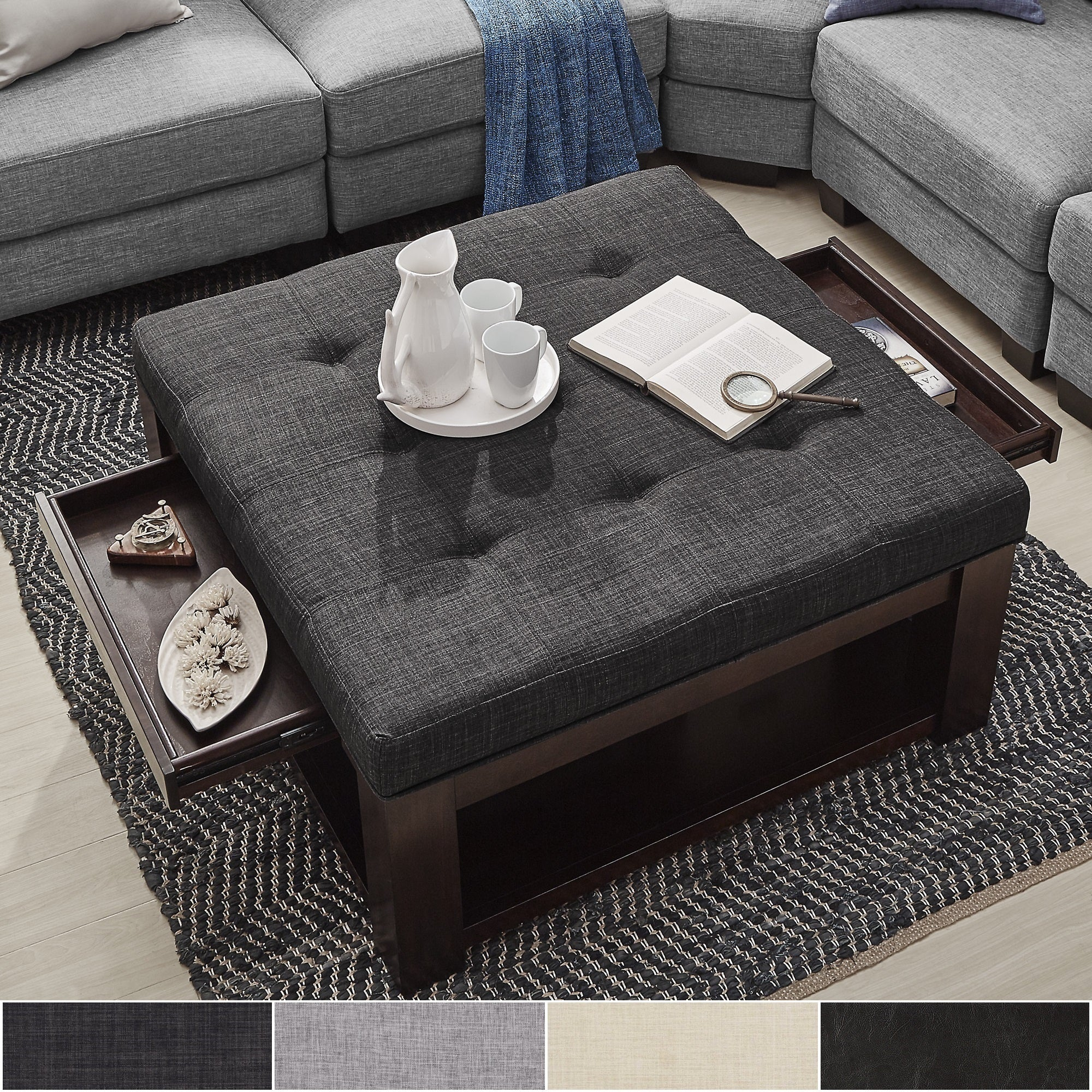 Shop lennon espresso square storage ottoman coffee table by inspire q classic on sale free shipping today overstock com 13447191