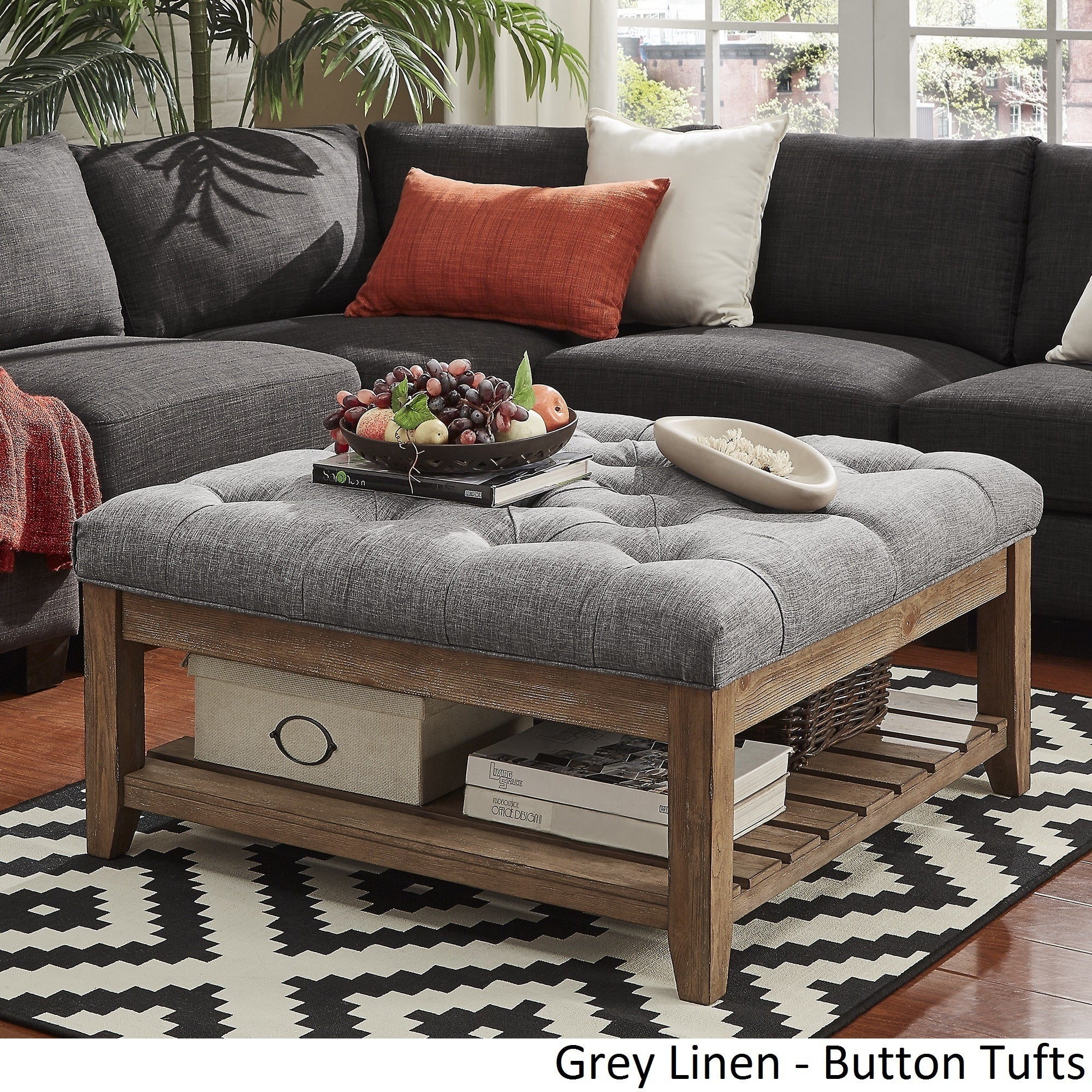 Lennon Pine Planked Storage Ottoman Coffee Table By Inspire Q On Free Shipping Today 13447192