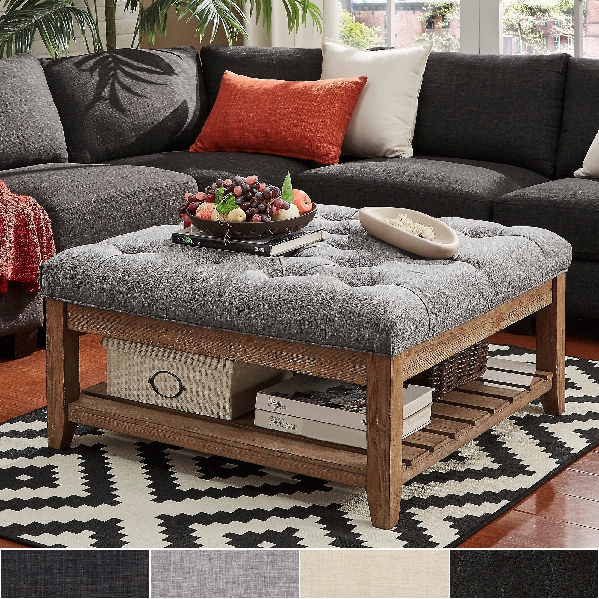 Lennon Pine Planked Storage Ottoman Coffee Table by iNSPIRE Q