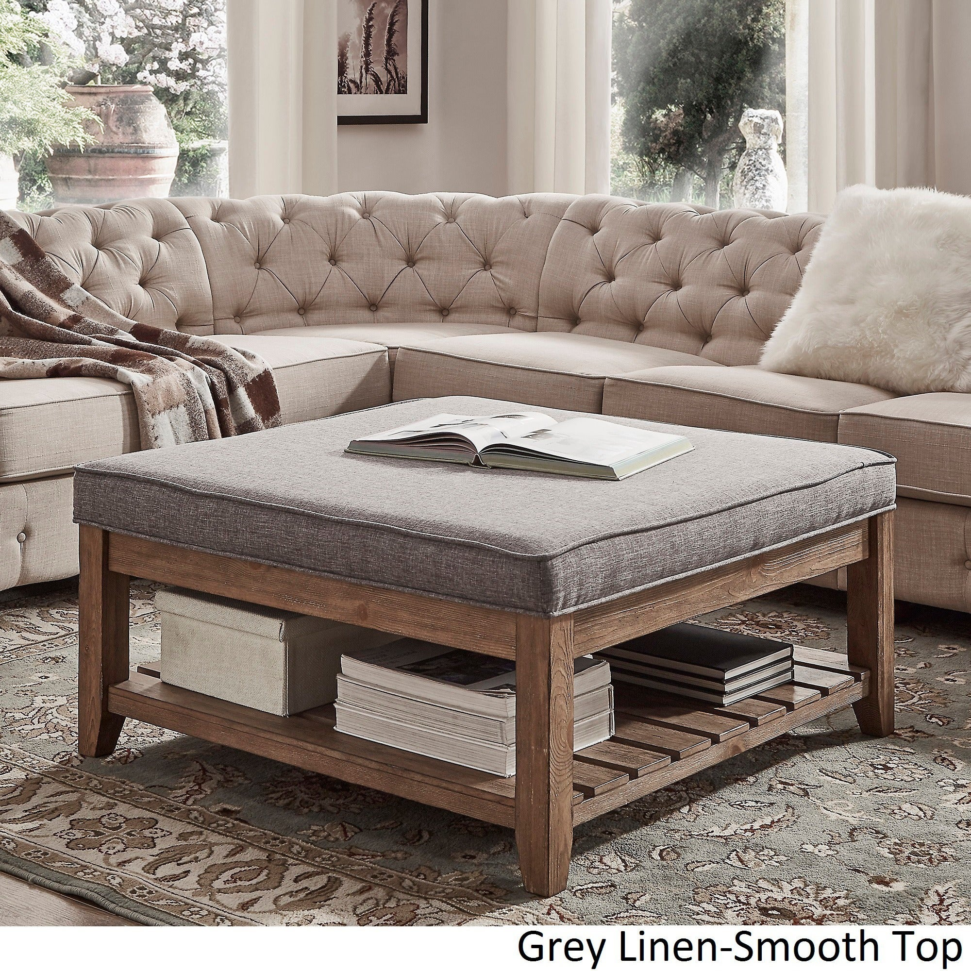 Lennon Pine Planked Storage Ottoman Coffee Table by iNSPIRE Q Artisan -  Free Shipping Today - Overstock.com - 20137487
