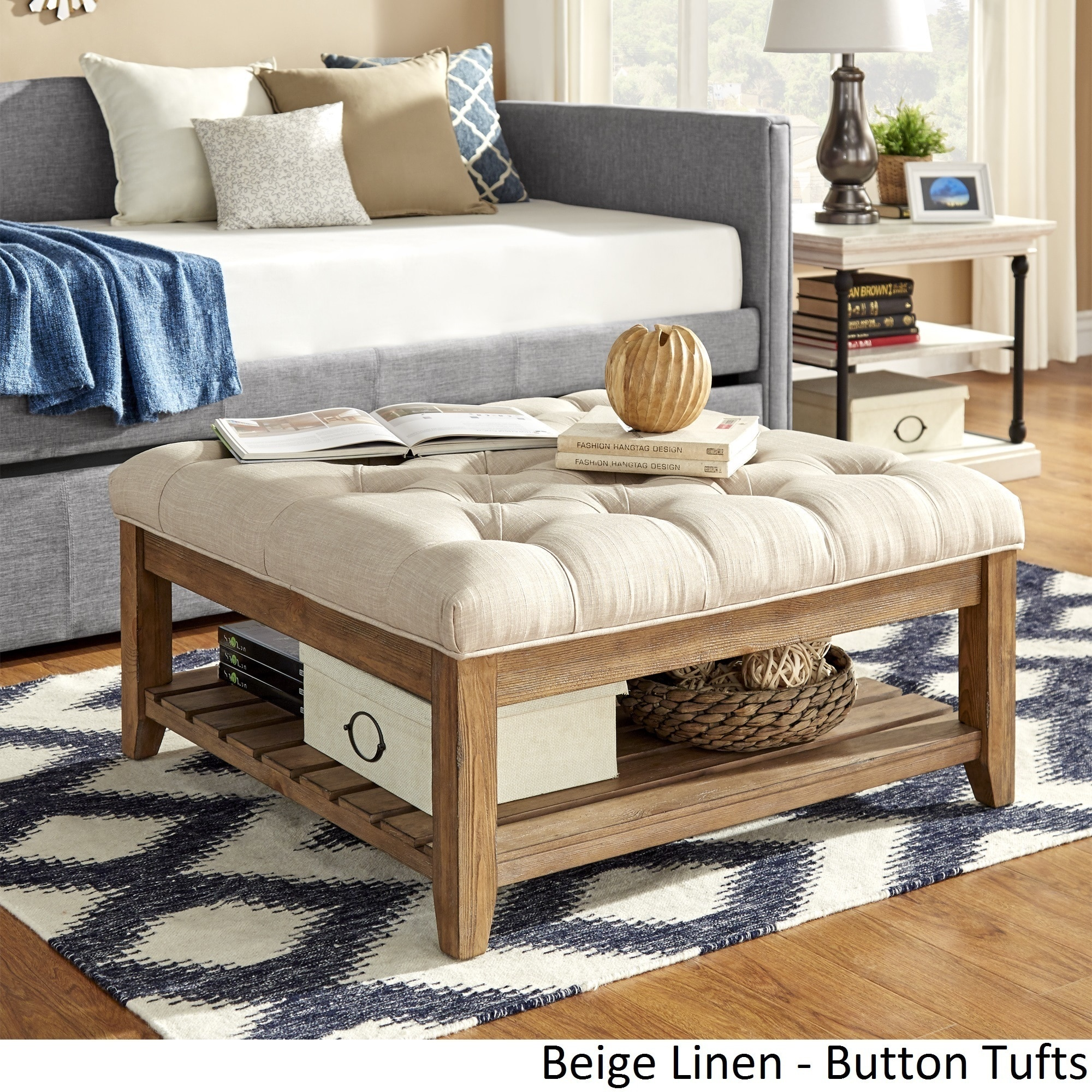 Shop Lennon Pine Planked Storage Ottoman Coffee Table By INSPIRE Q Artisan    Free Shipping Today   Overstock.com   13447192