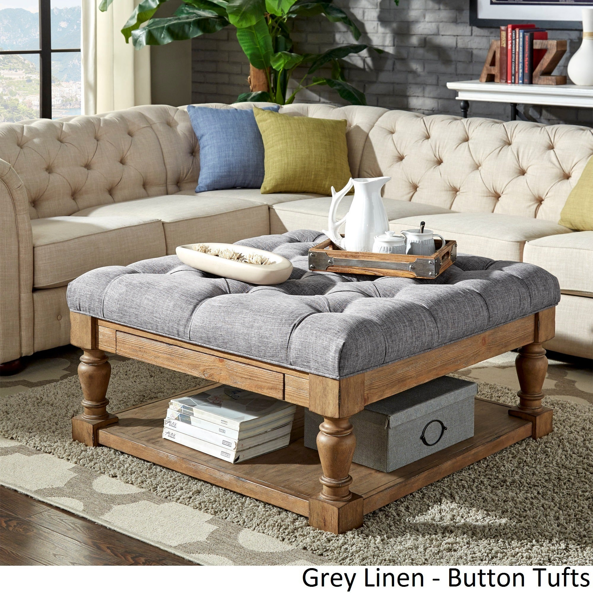 Lennon Baluster Pine Storage Tufted Cocktail Ottoman By INSPIRE Q Artisan    Free Shipping Today   Overstock.com   20137488