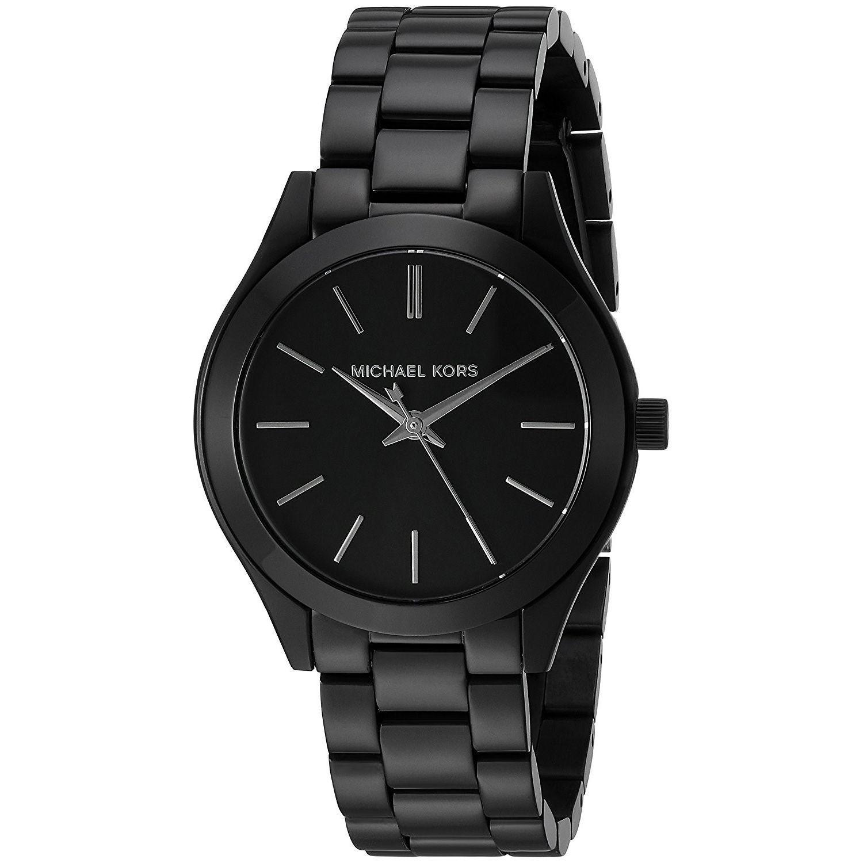 468ec33b5ded Shop Michael Kors Women s MK3587 Mini Slim Runway Black Dial Black  Stainless Steel Bracelet Watch - Free Shipping Today - Overstock - 13447617