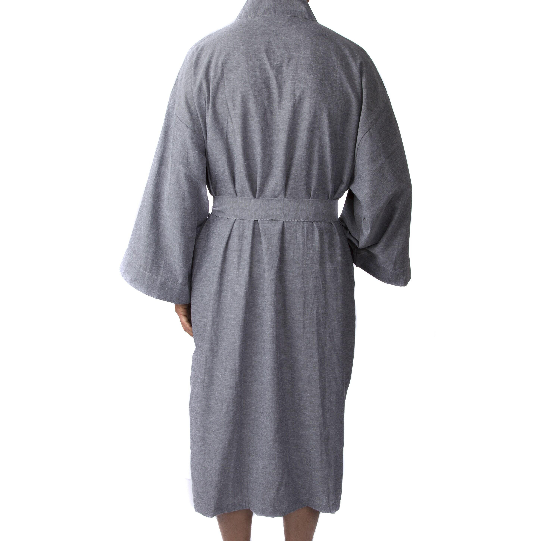 Shop Leisureland Men s Oxford Cloth 48-inch Kimono Robe - Free ... 66ab52818