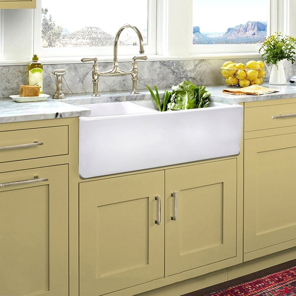 Highpoint Collection Italian Fireclay Double Bowl Farmhouse Sink 33 X 18 X 10 Overstock 13448989
