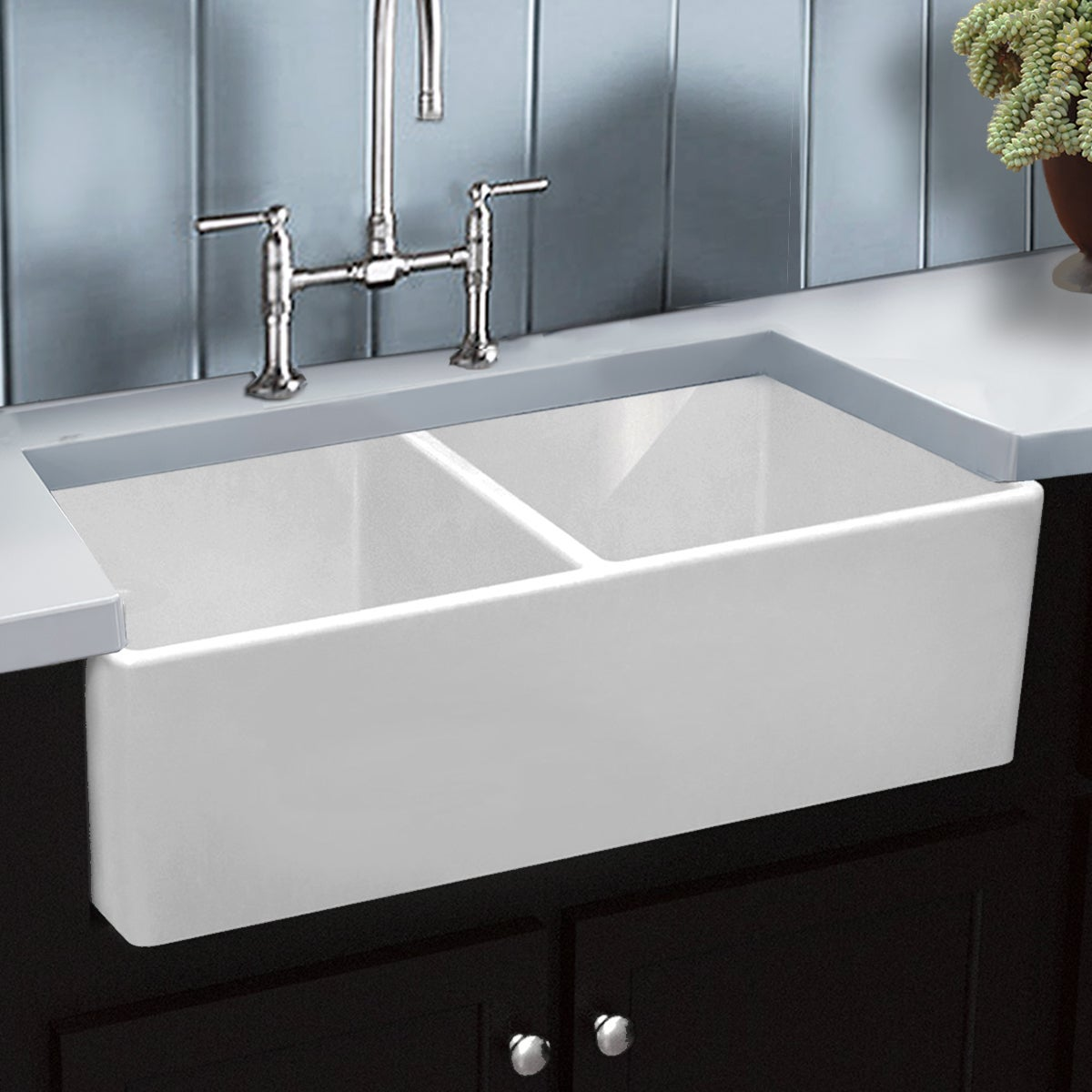 Highpoint Collection Italian Fireclay Double Bowl Farmhouse Sink Free Shipping Today 13448989