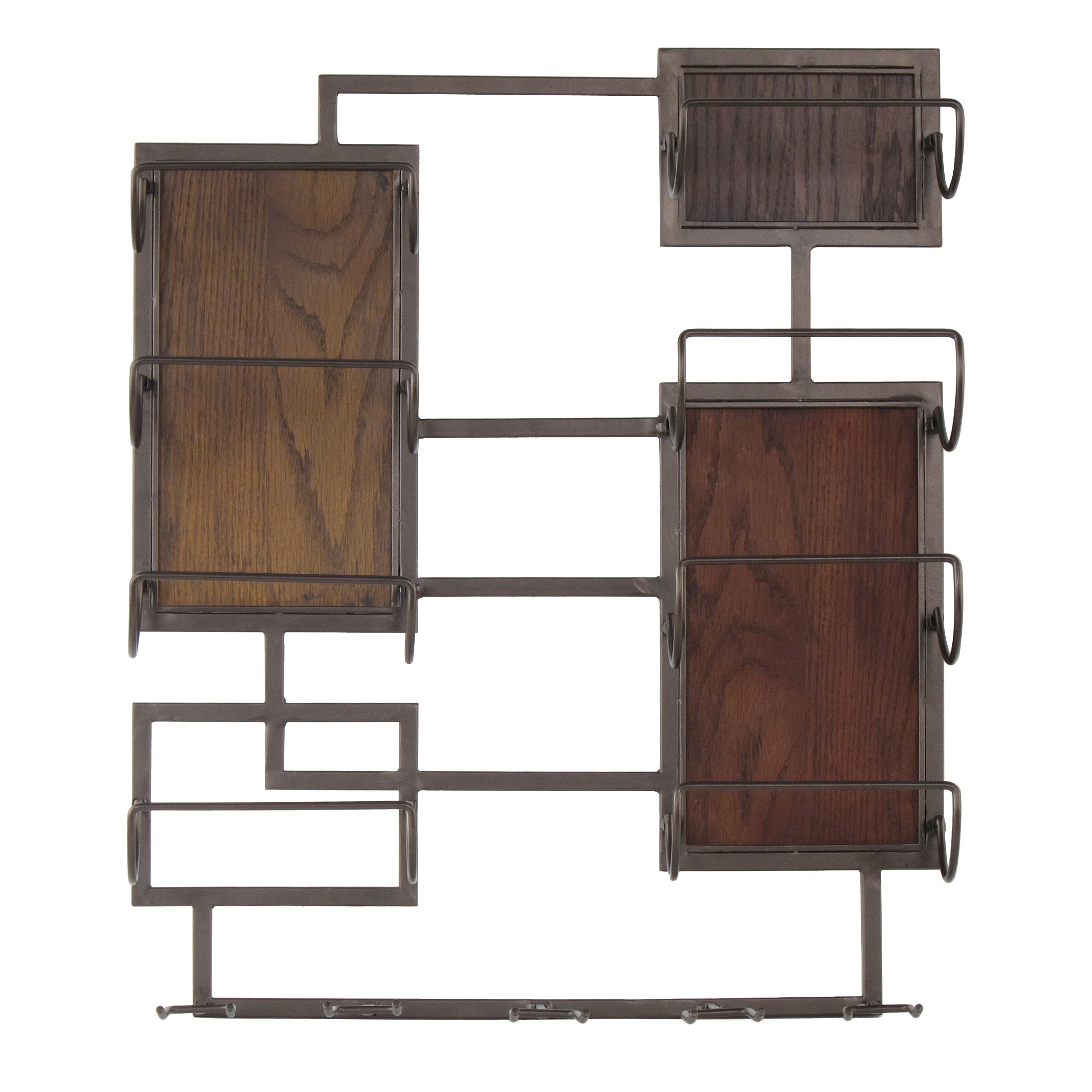 20X24 Metal And Wood 8 Bottle 5 Glass Wall Mount Wine Storage
