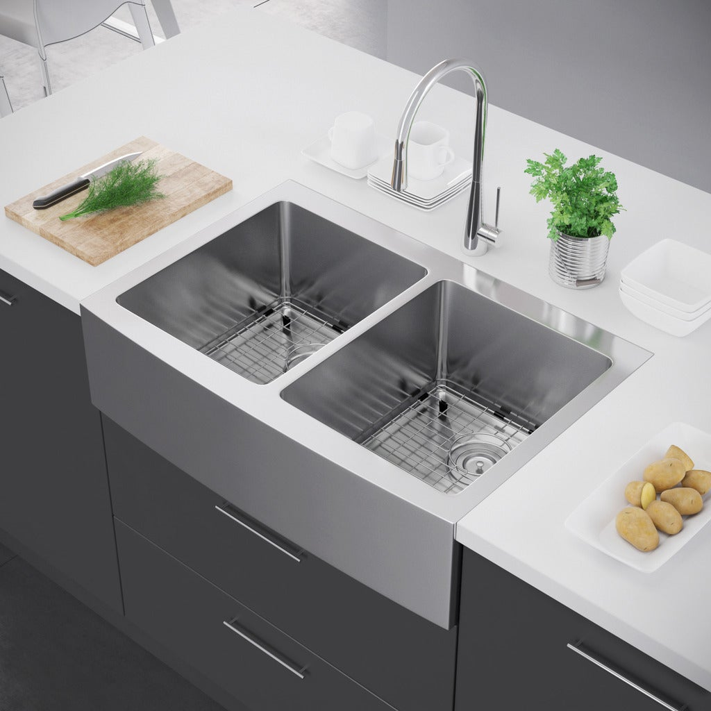 Exclusive Heritage 33 X 22 Double Bowl 50 Stainless Steel Kitchen Farmhouse A Front Sink Free Shipping Today 13453867