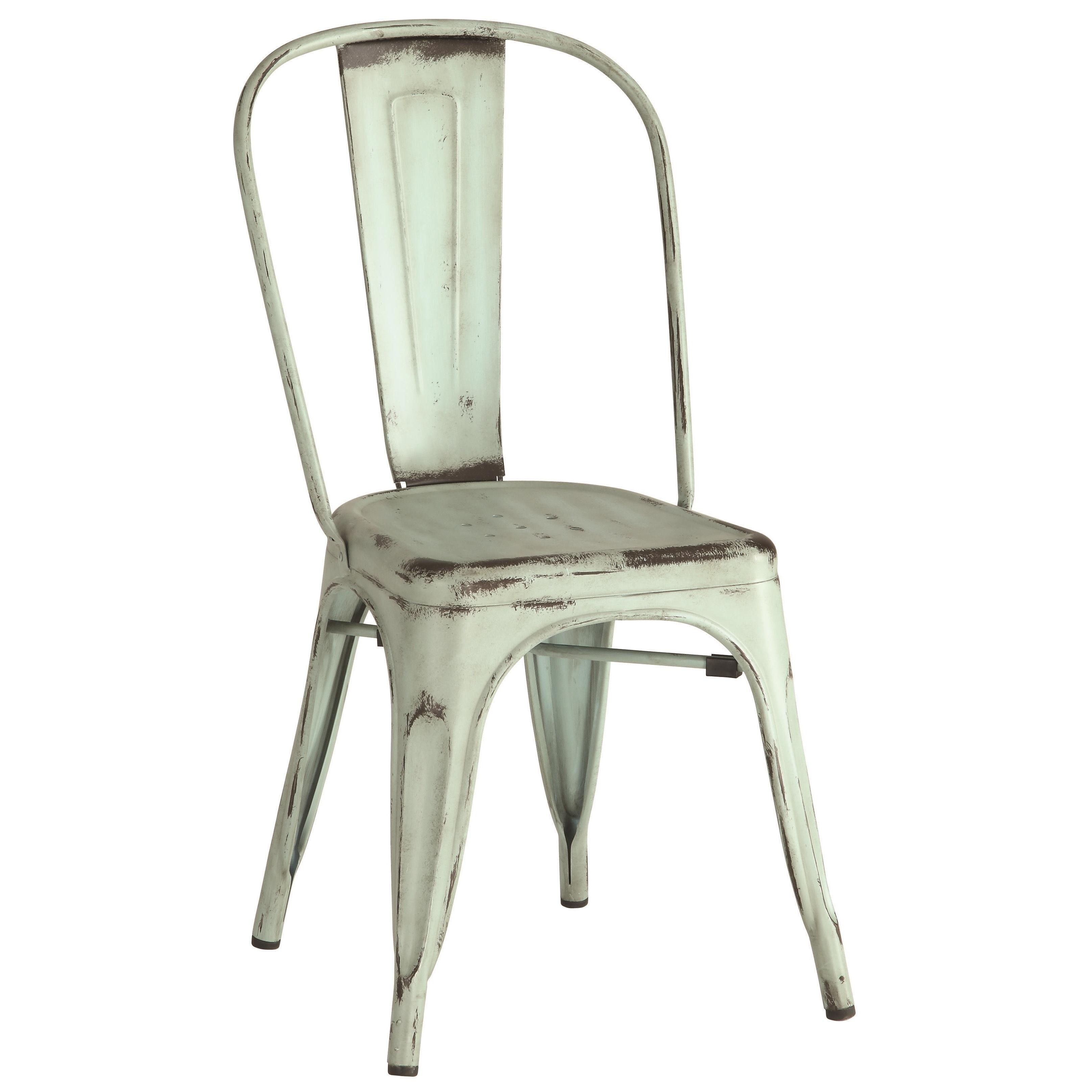 Vintage Distressed Rustic Design Green Metal Dining Chairs Set Of 4 Free Shipping Today 13454993