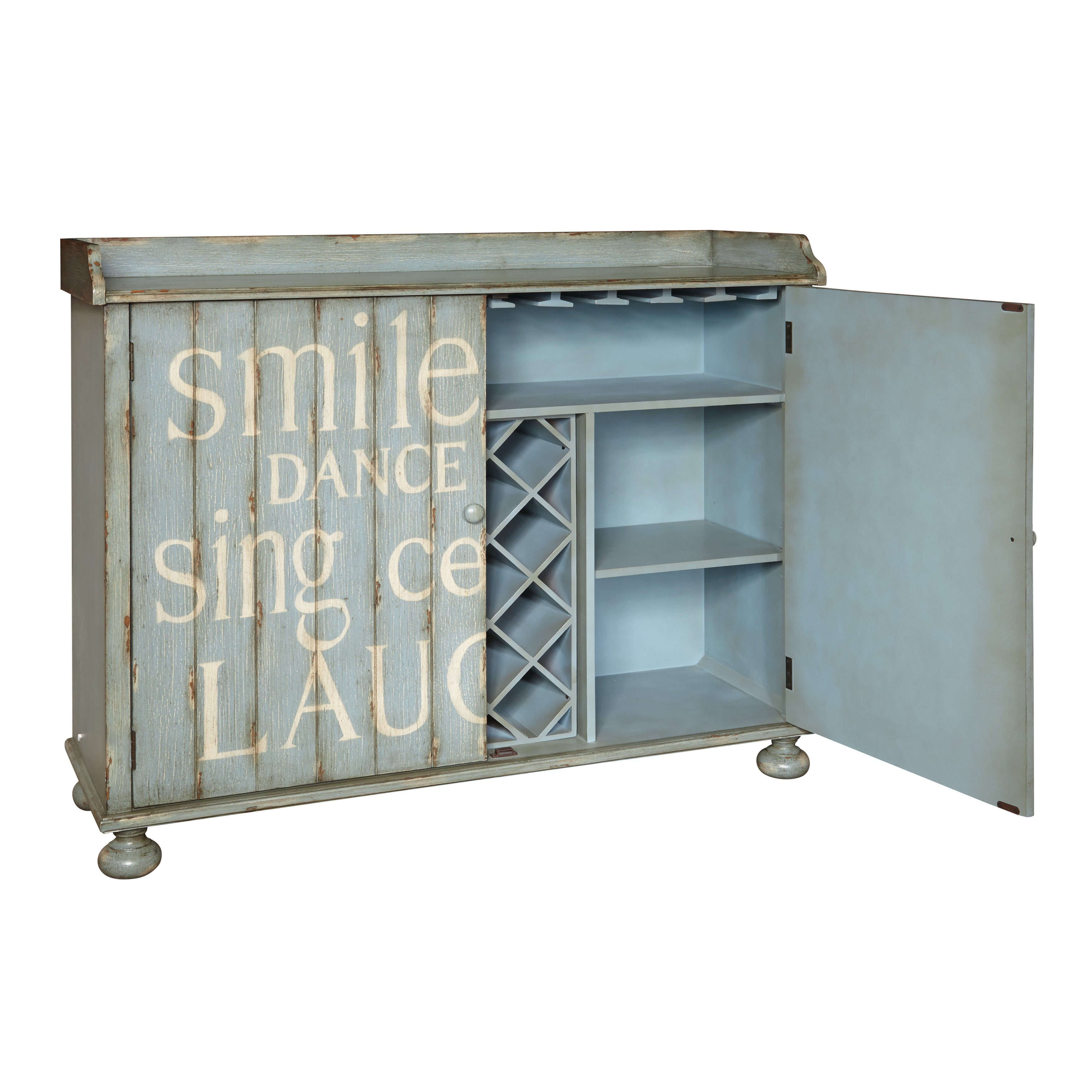 Shop Hand Painted Distressed Rustic Blue Wine Cabinet - On Sale ...