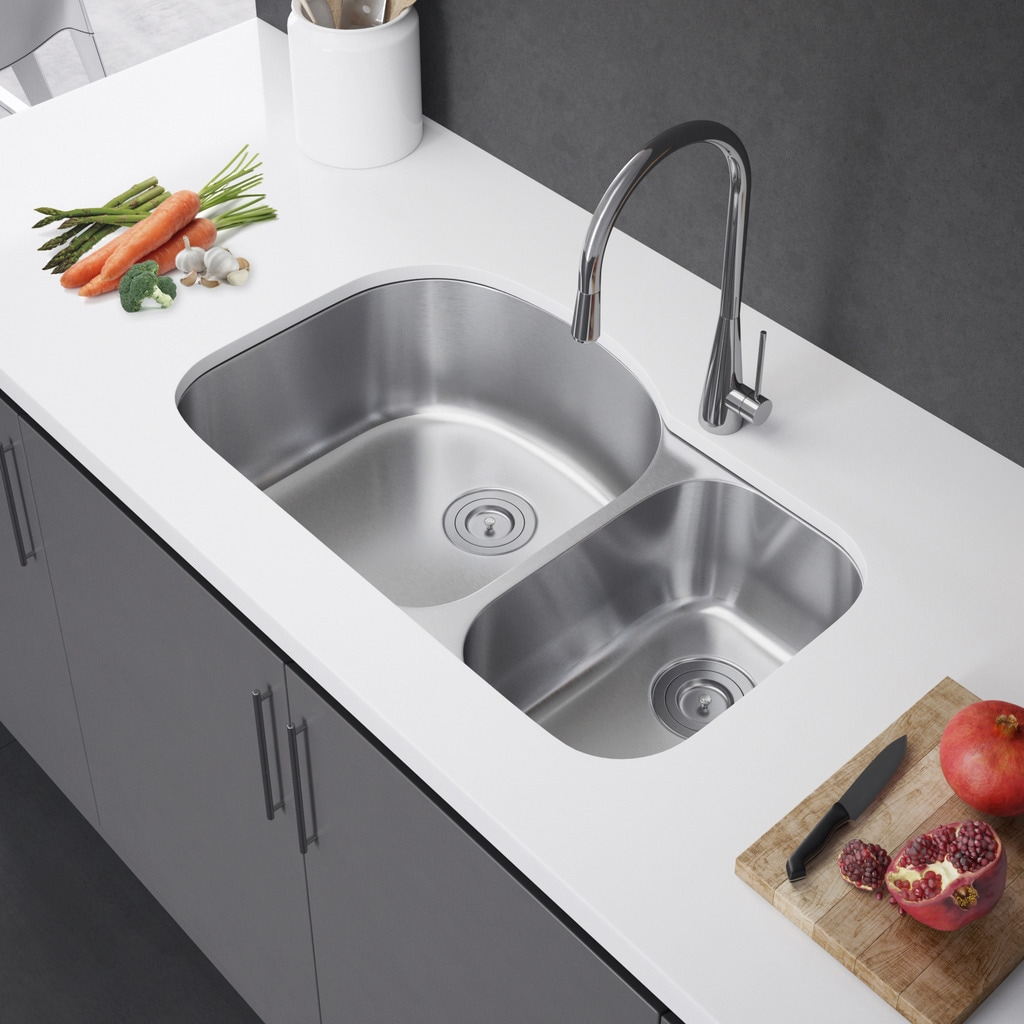 Exclusive Heritage 32 X 21 Double Bowl 70 30 Undermount Stainless Steel Kitchen Sink