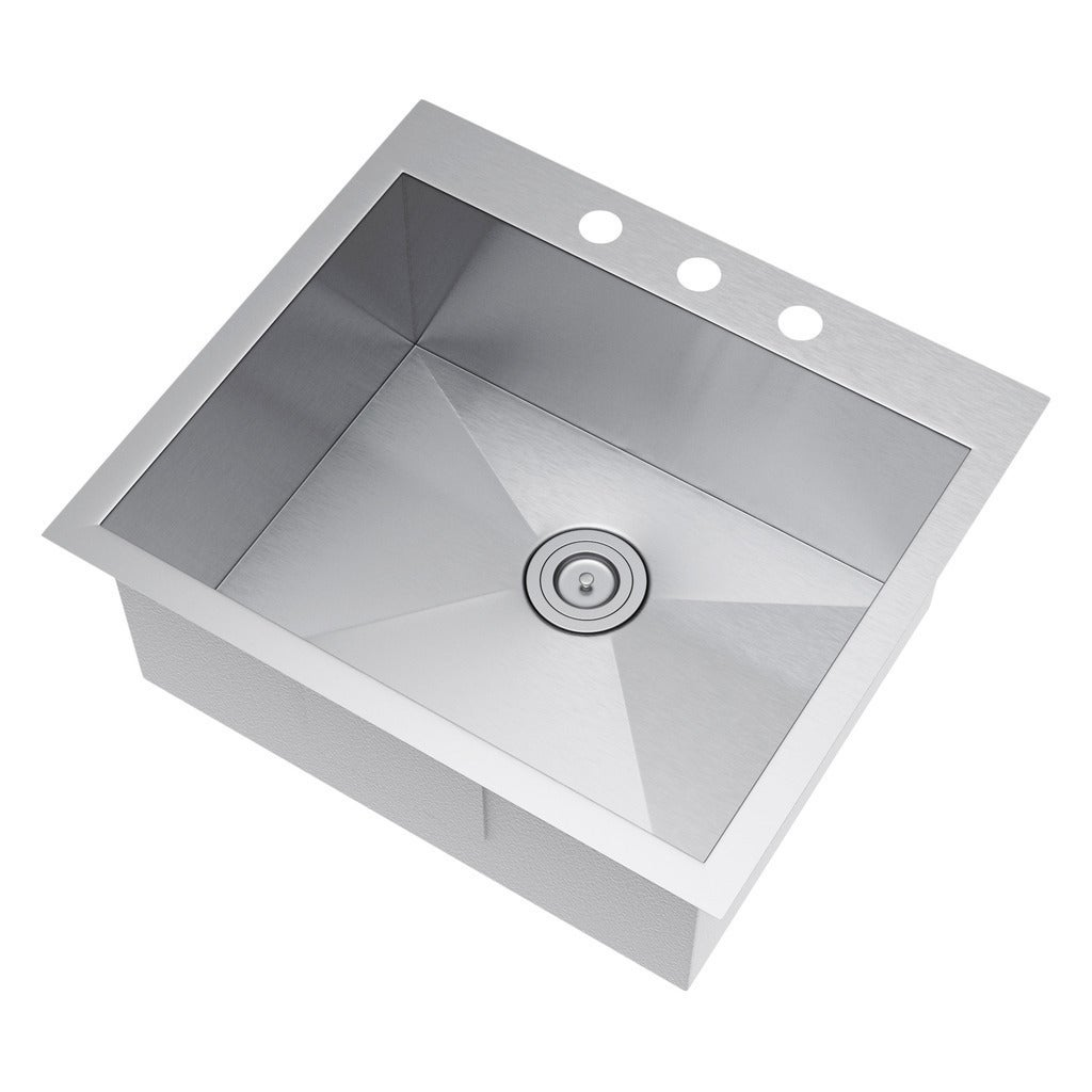 exclusive heritage 25 x 22 inch single bowl top mount drop in 16 gauge stainless steel kitchen sink   free shipping today   overstock com   20145206 exclusive heritage 25 x 22 inch single bowl top mount drop in 16      rh   overstock com