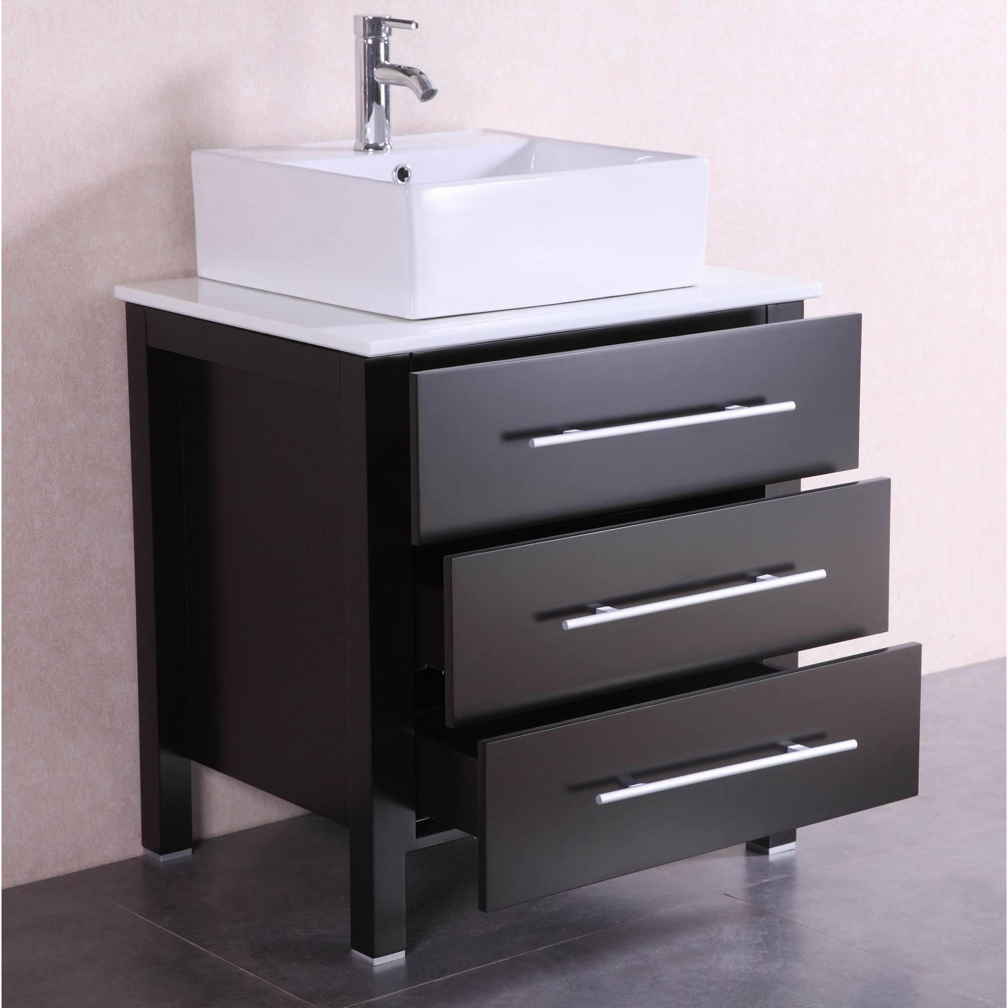 Shop 28 inch belvedere modern freestanding espresso bathroom vanity w vessel sink free shipping today overstock com 13464483
