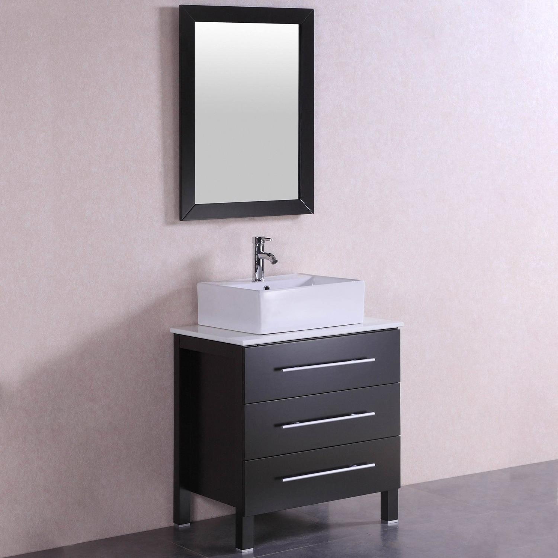 28 Inch Belvedere Modern Freestanding Espresso Bathroom Vanity W Vessel Sink