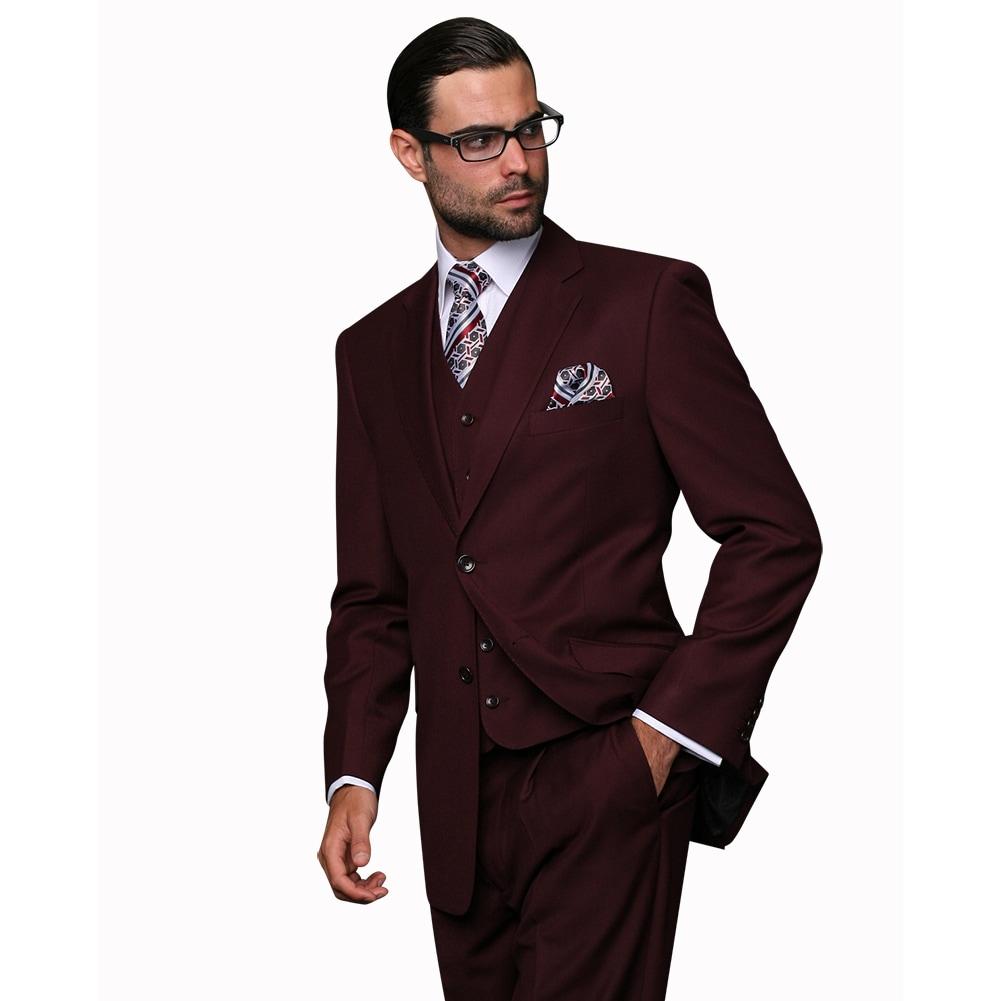 183e50a1294 Shop Statement Men's Burgundy Wool 3-piece Suit - On Sale - Free ...