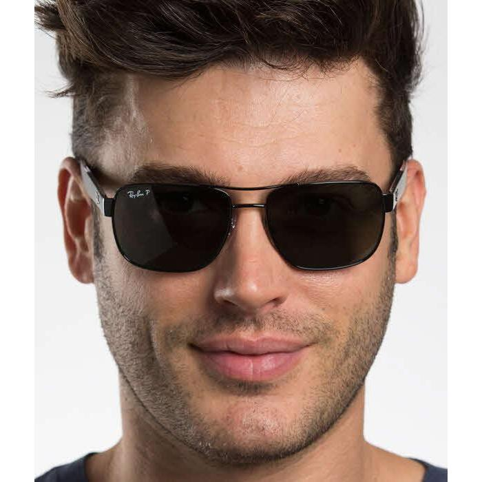 97679ad8016 Shop Ray Ban Mens RB3530 002 9A Black Metal Square Sunglasses - Green -  Free Shipping Today - Overstock - 13469129