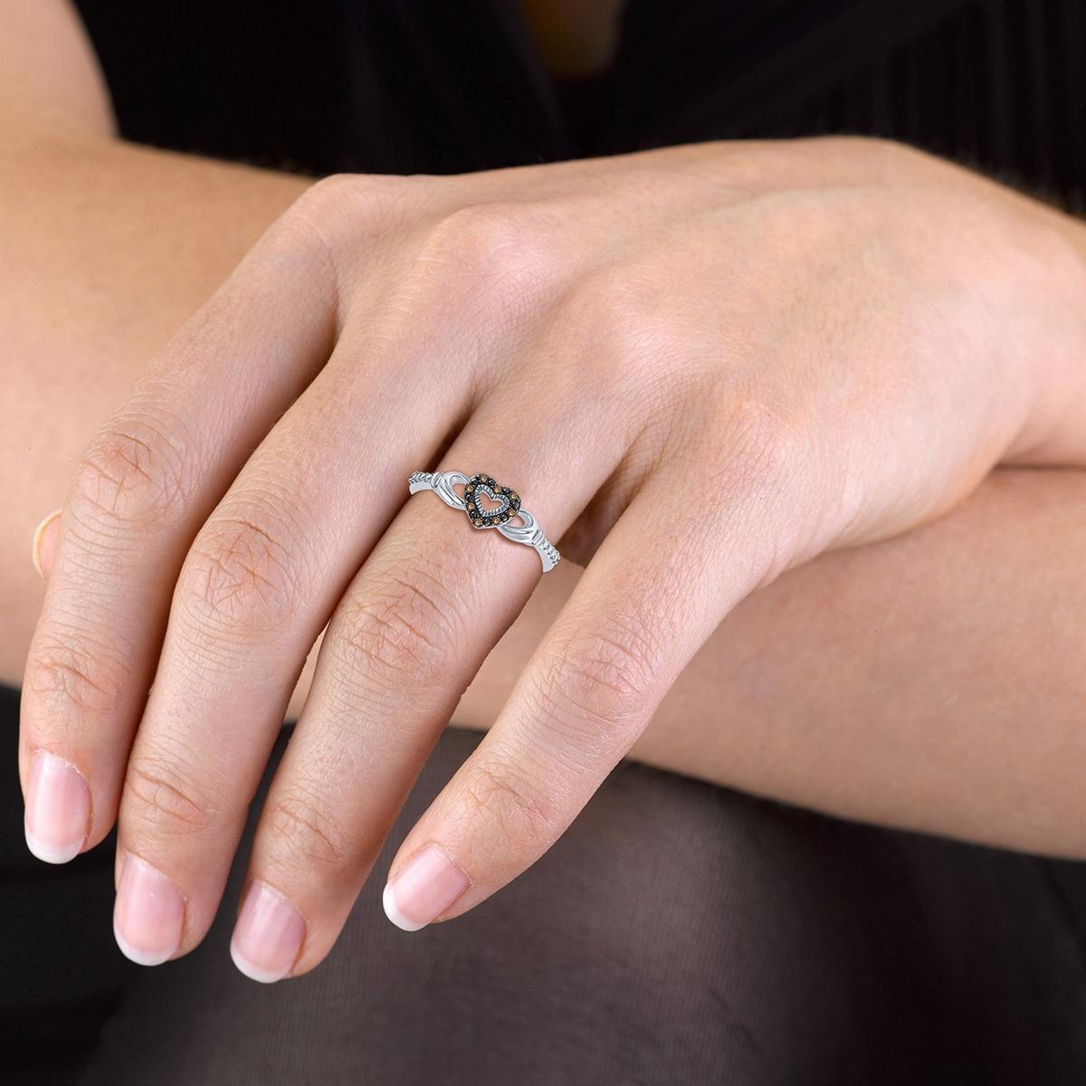 Cali Trove Sterling Silver Champagne Diamond Accent Claddagh Ring ...