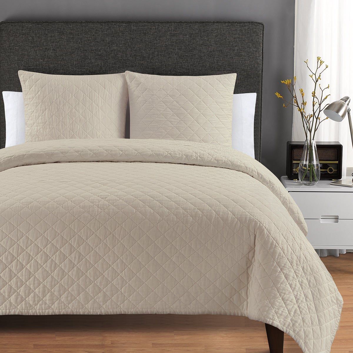 Quilted Washed Belgian Linen Coverlet   On Sale   Free Shipping Today    Overstock.com   20156627