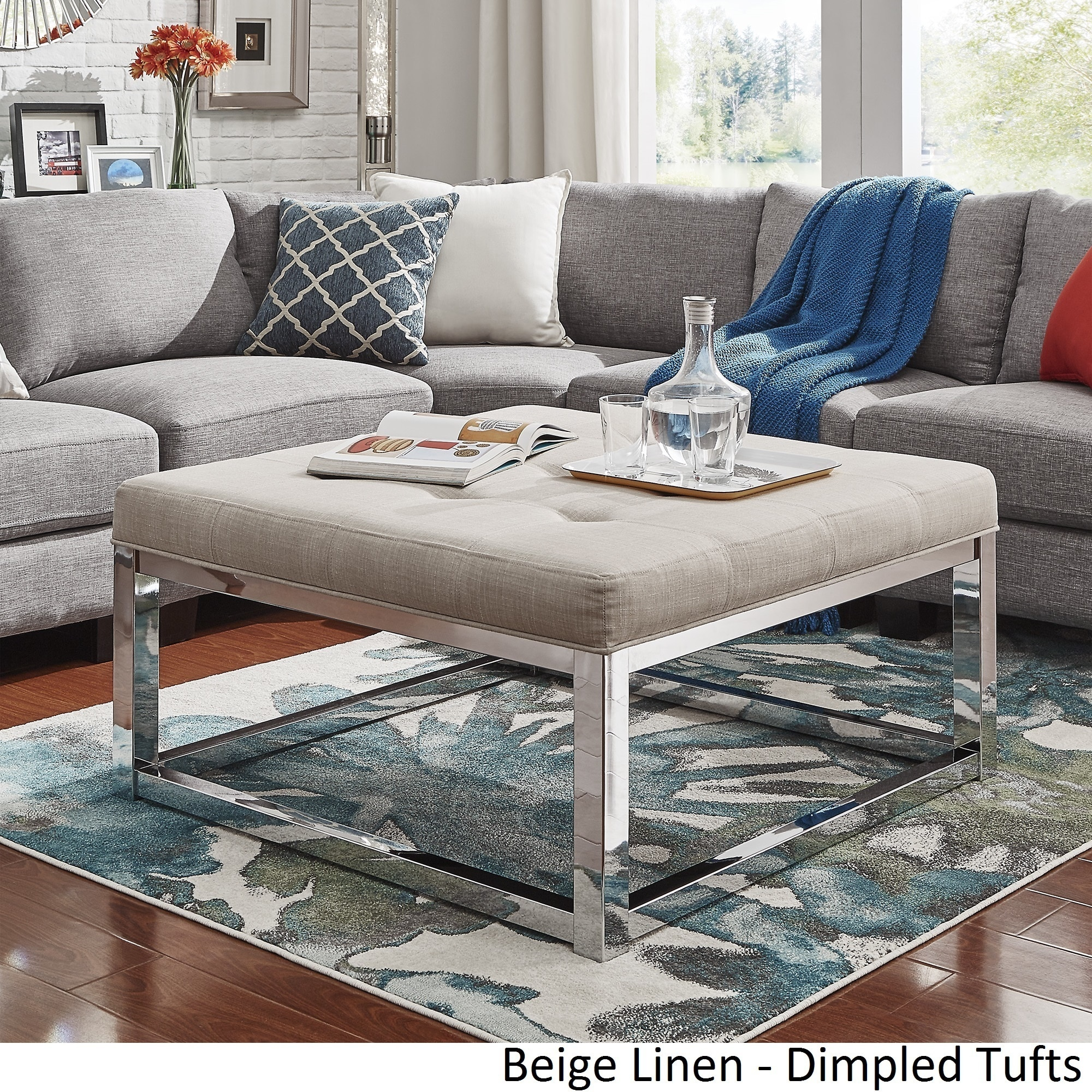 Solene Square Base Ottoman Coffee Table - Chrome by iNSPIRE Q Bold - Free  Shipping Today - Overstock.com - 20158058