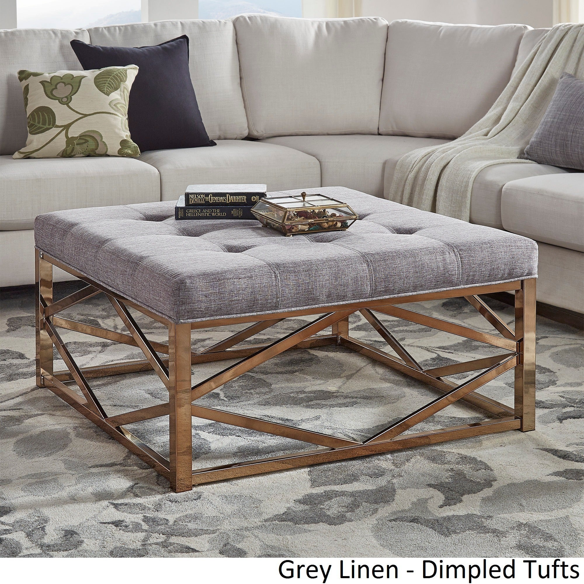 Solene Geometric Base Square Ottoman Coffee Table - Champagne Gold by  iNSPIRE Q Bold - Free Shipping Today - Overstock.com - 20158170