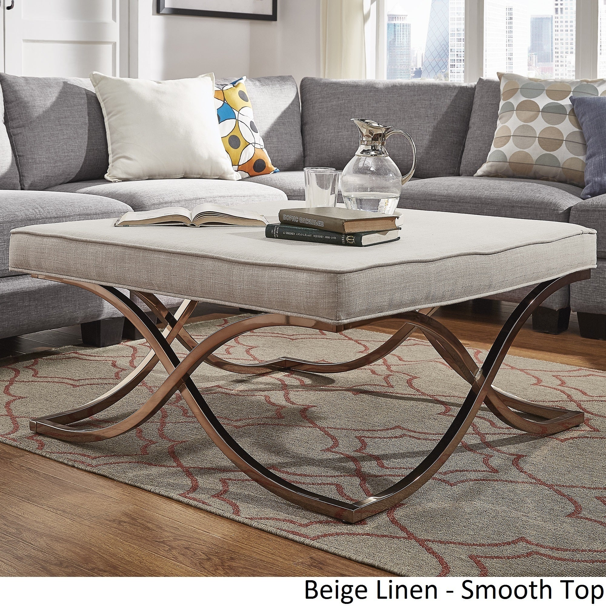 Solene X Base Square Ottoman Coffee Table Champagne Gold by