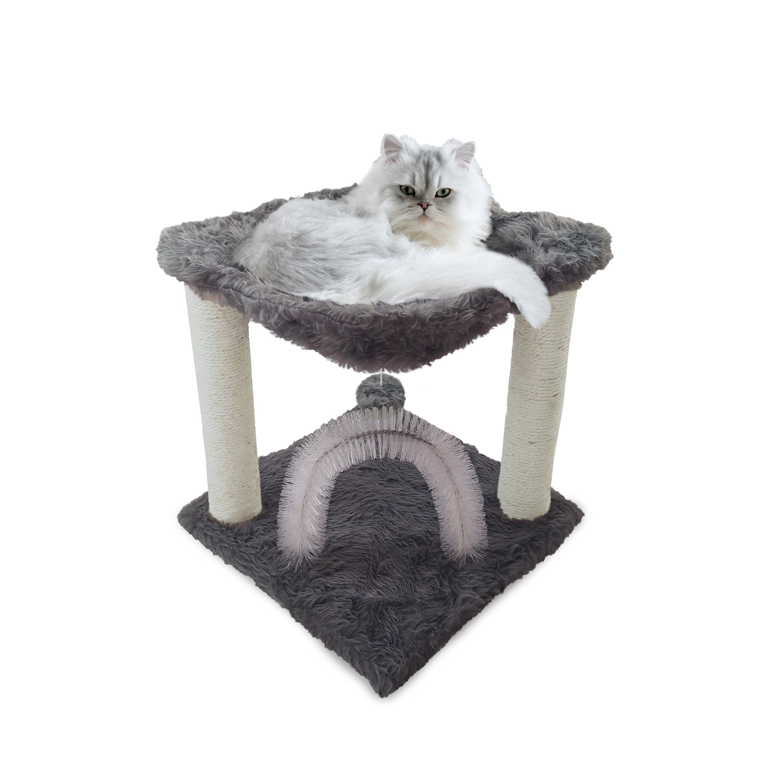 furhaven tiger tough plush hammock cat bed and grooming station   free shipping on orders over  45   overstock     20161022 furhaven tiger tough plush hammock cat bed and grooming station      rh   overstock