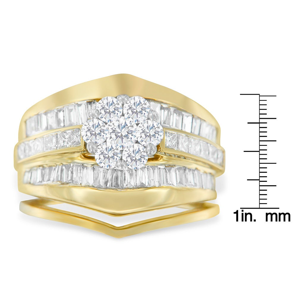 genuine rings ct baguette ring diamond rng cluster engagement real yellow princess gold