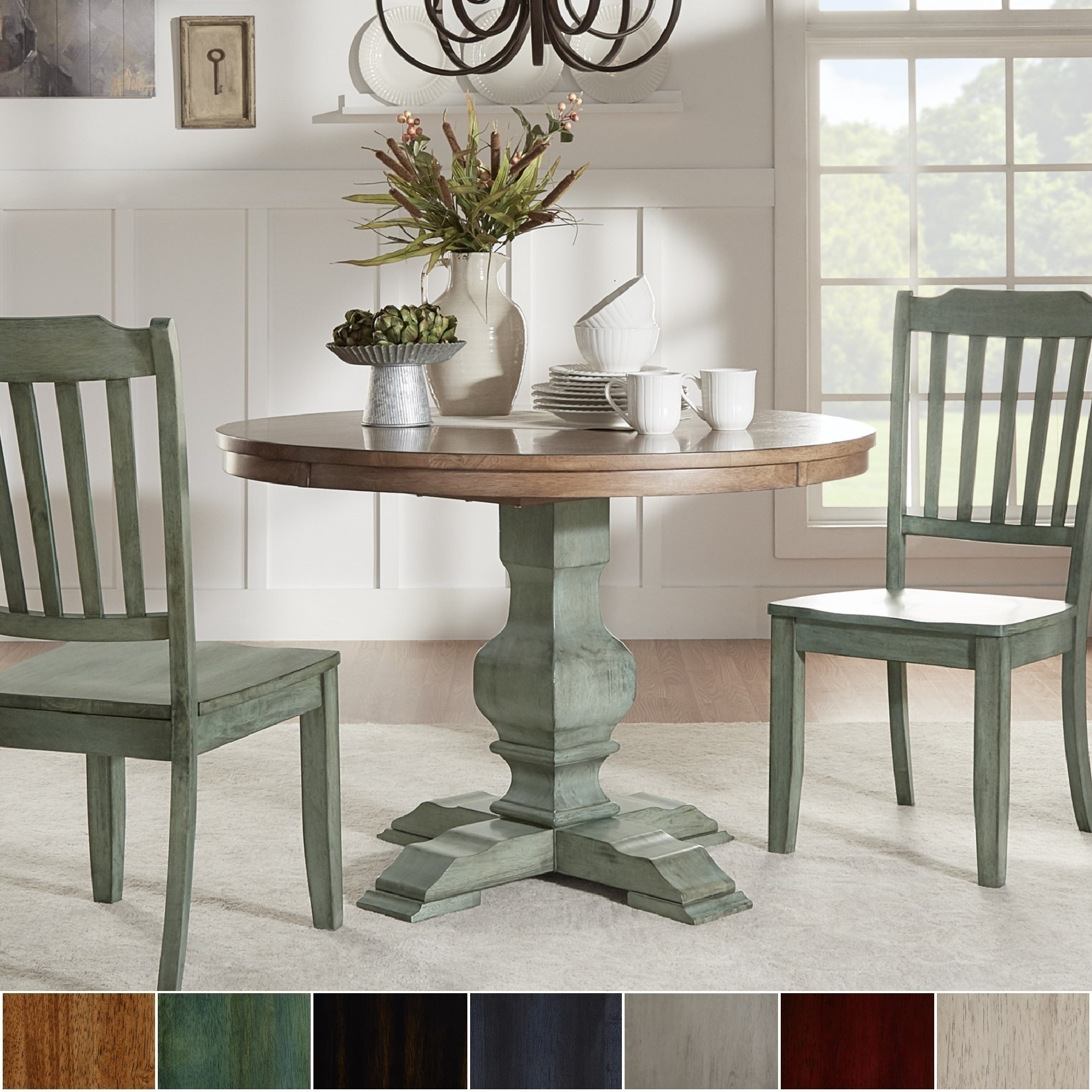Shop Eleanor Two Tone Round Solid Wood Top Dining Table By Inspire Q Rh  Overstock Com