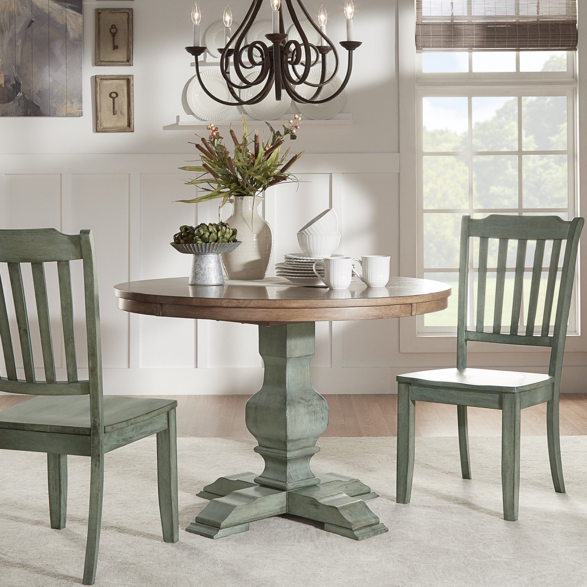 Eleanor Two-tone Round Solid Wood Top Dining Table by iNSPIRE Q Classic -  Free
