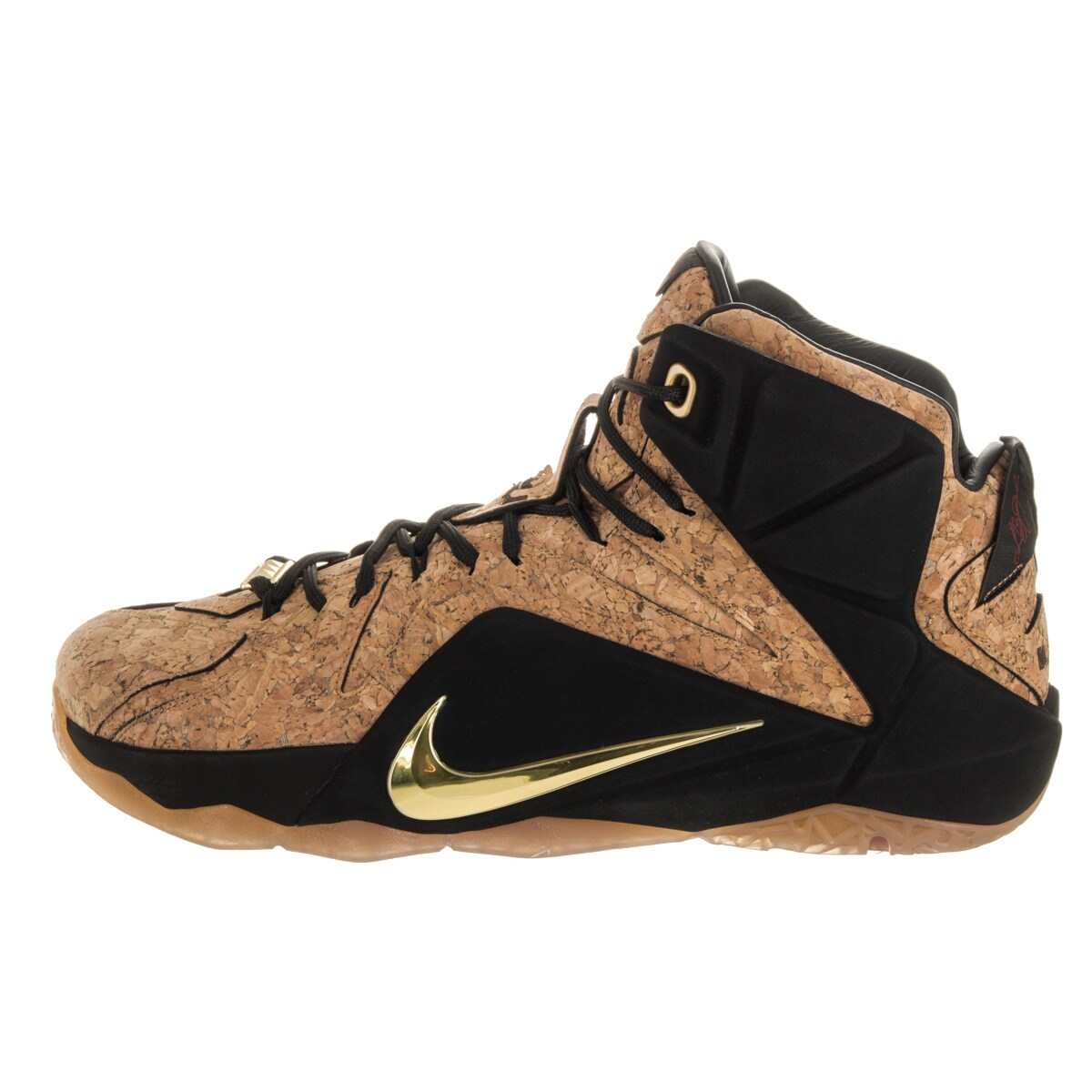 5b8ddc36496 Shop Nike Men s Lebron XII Ext Cork Black and Natural Synthetic Leather  Basketball Shoes - Free Shipping Today - Overstock - 13476412