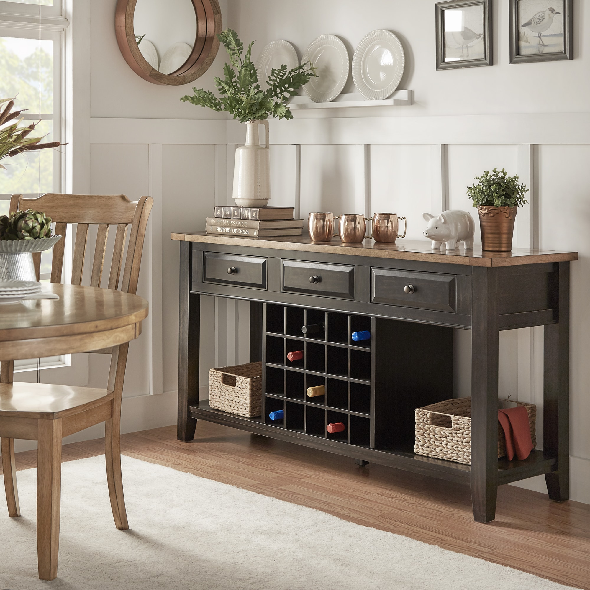 Eleanor Two-Tone Wood Wine Rack Buffet Server by iNSPIRE Q Classic - Free  Shipping Today - Overstock.com - 20163224