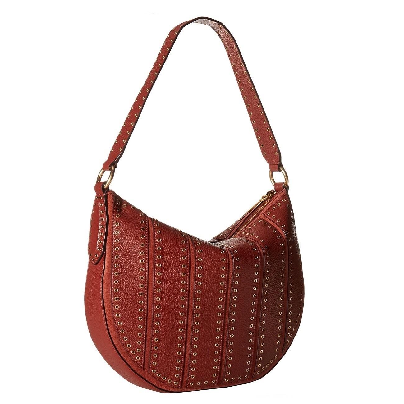 d7e0580fbdcb Shop Michael Kors Suede Medium Convertible Brick Hobo Handbag - On Sale - Free  Shipping Today - Overstock - 13477005