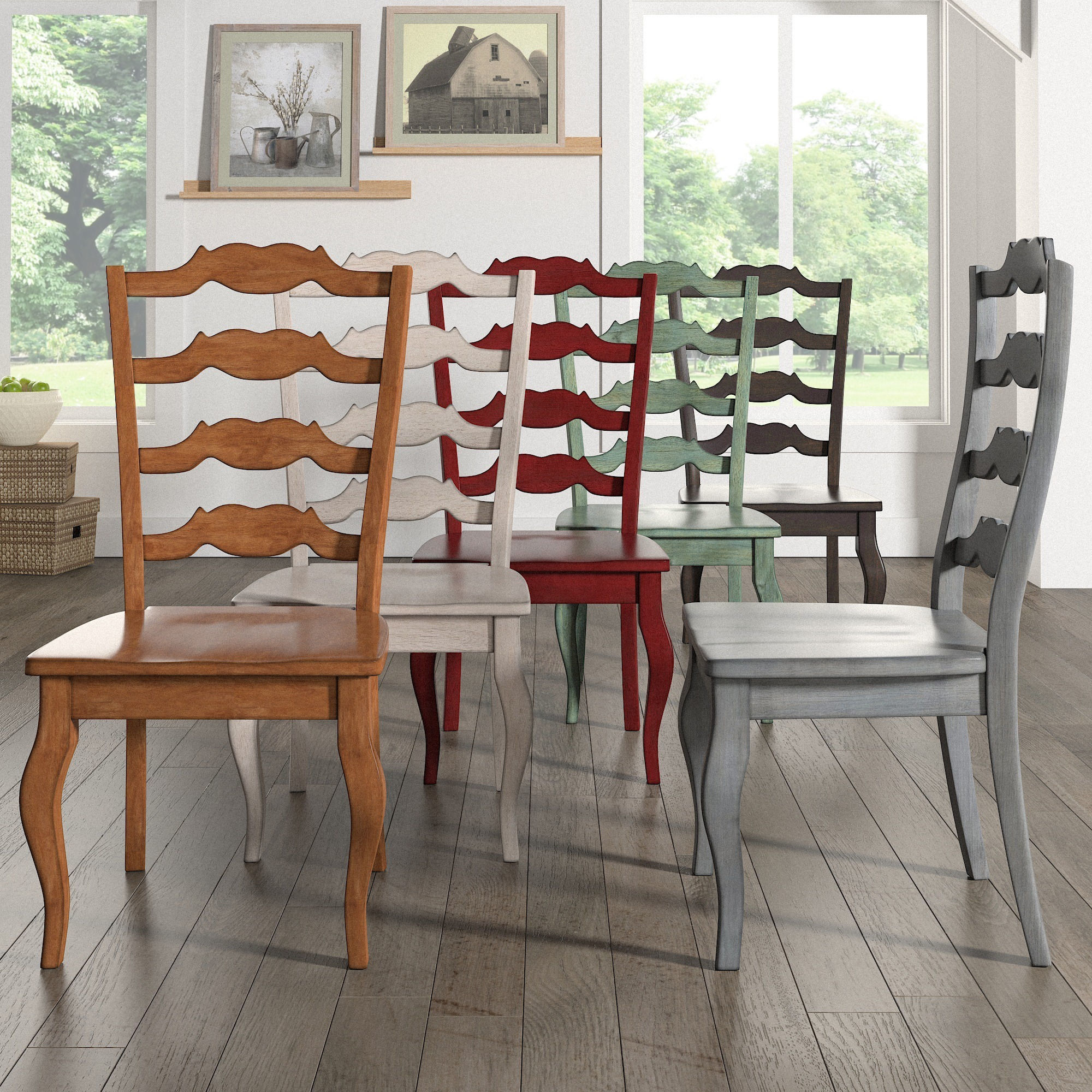 Brilliant Eleanor French Ladder Back Wood Dining Chair Set Of 2 By Inspire Q Classic Beutiful Home Inspiration Cosmmahrainfo